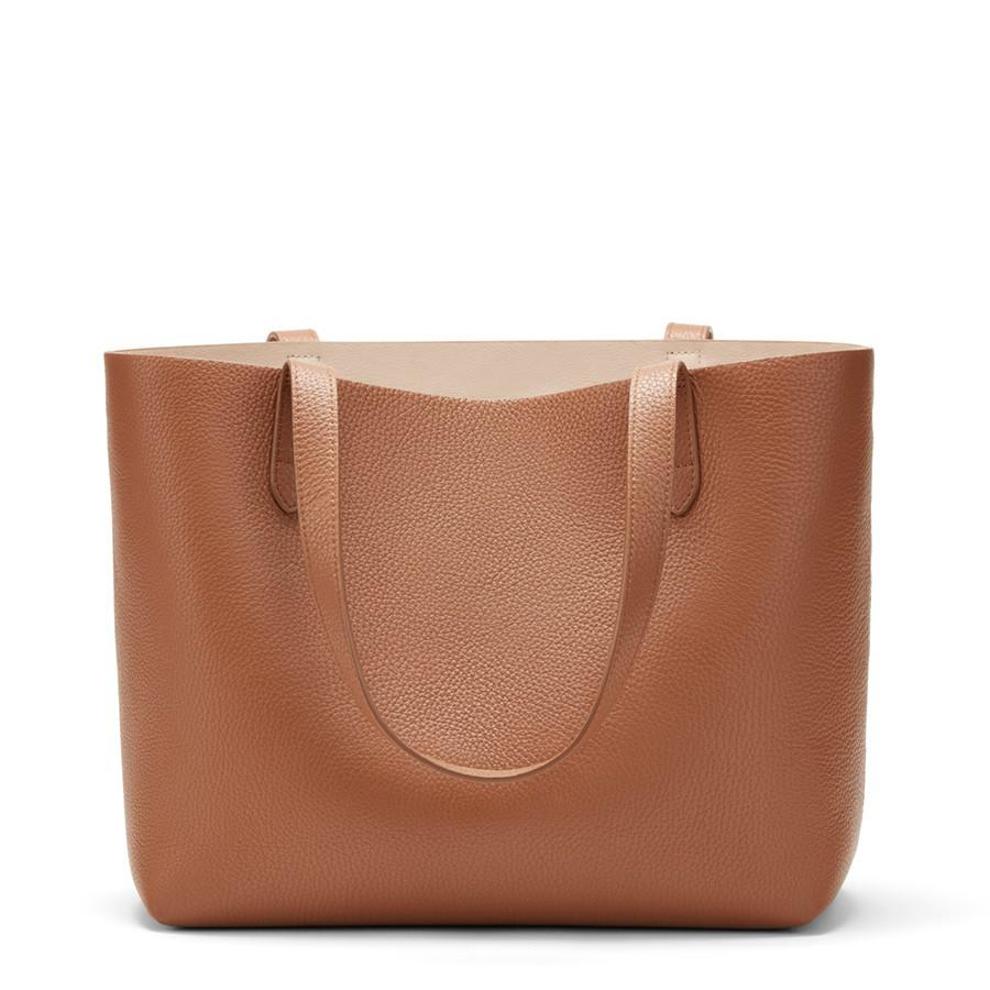 Women's Small Structured Leather Tote Bag in Caramel/Blush Pink | Pebbled Leather by Cuyana