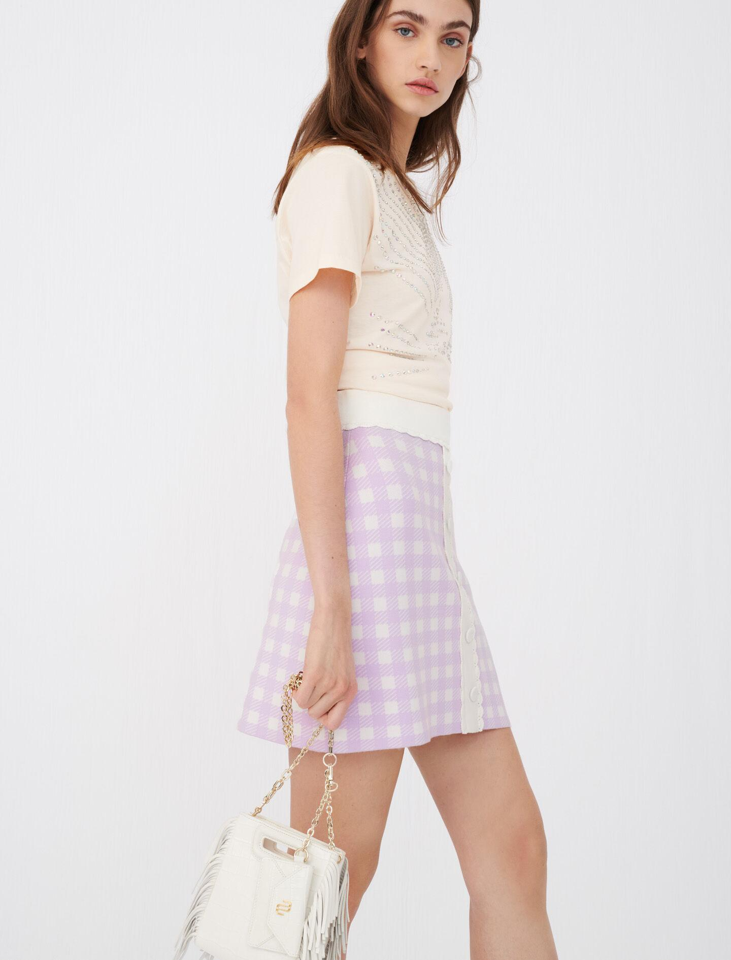 STRAIGHT SKIRT IN CHECKED JACQUARD