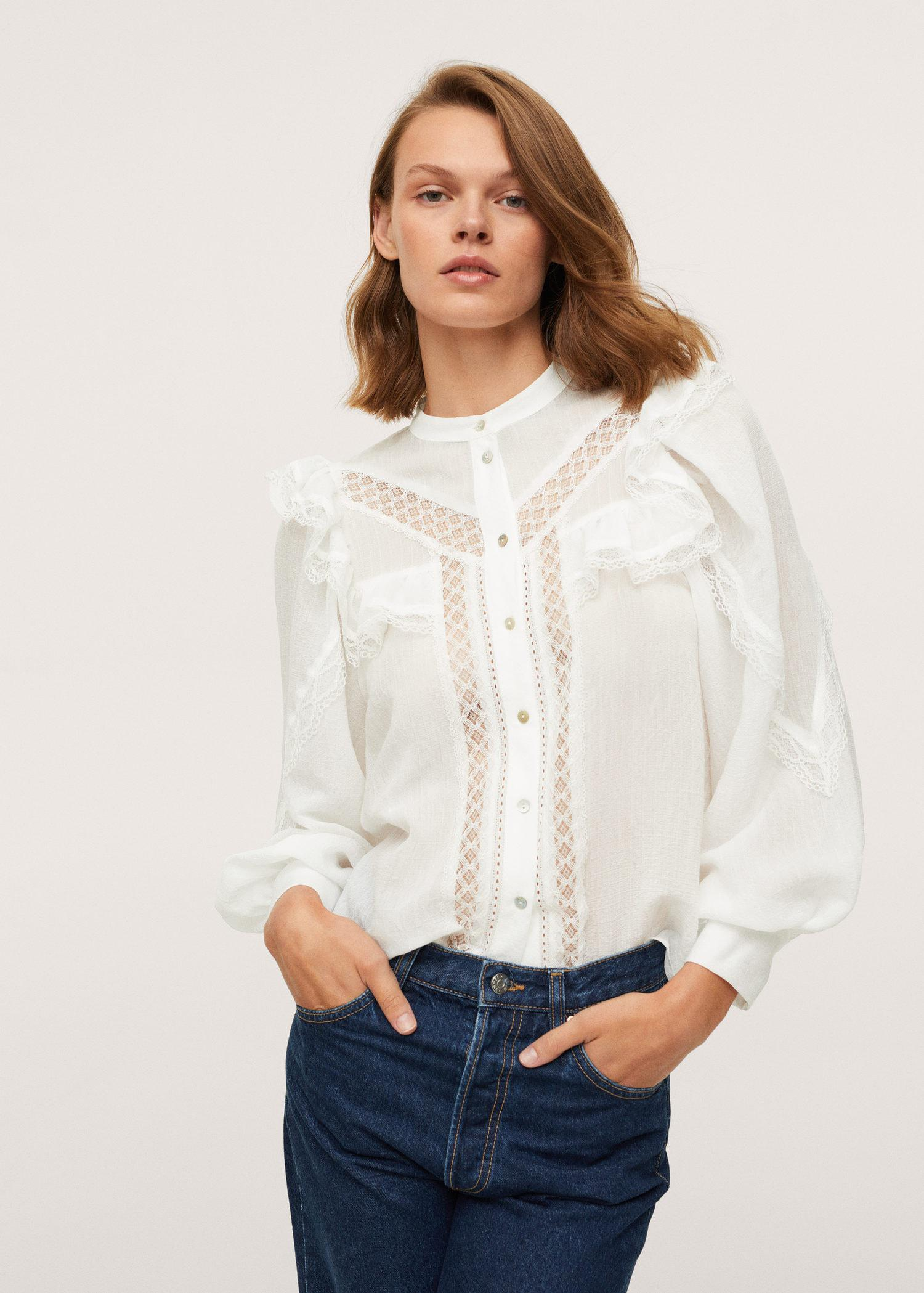 Ruffled embroidered blouse