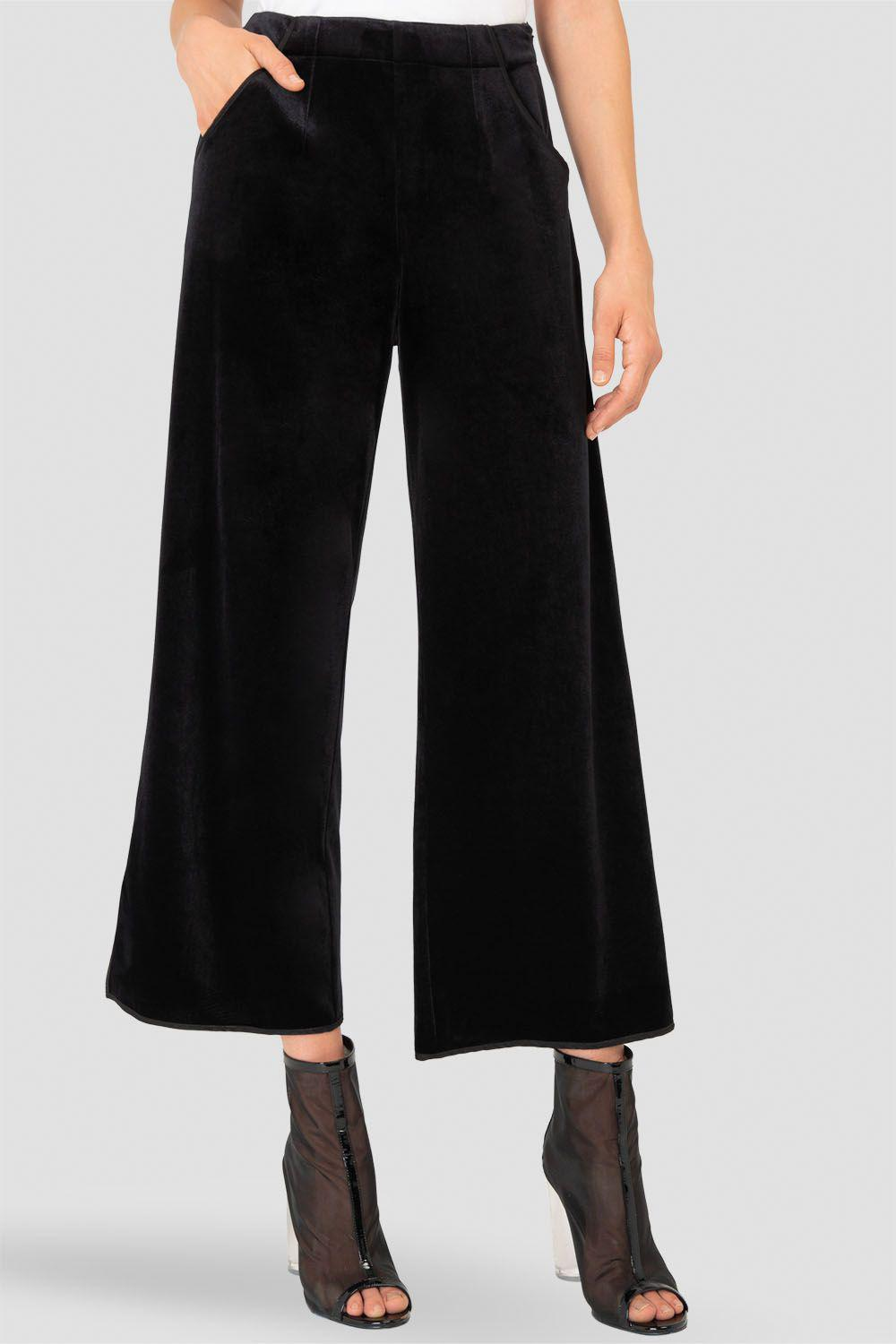 Libby Stretch Velvet Crop Wide Leg Pant With Slash Pkt And Side Vent