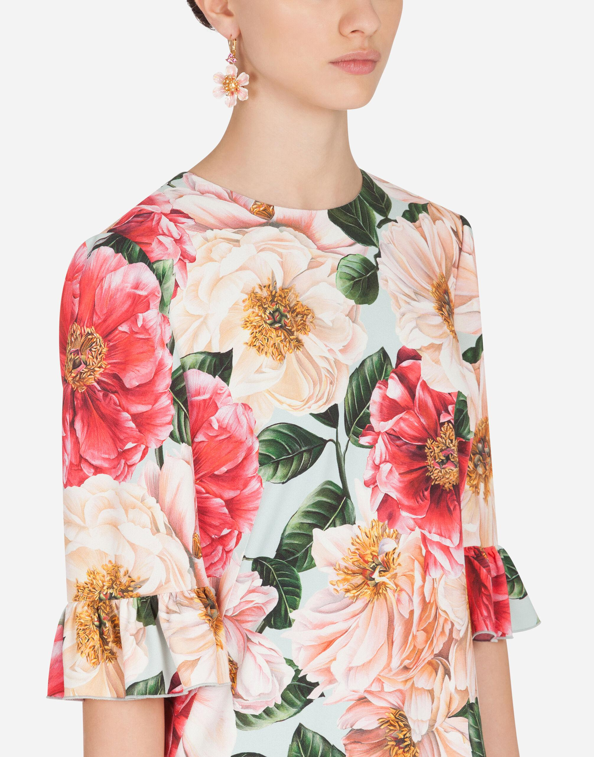 Short camellia-print cady dress with ruffle detailing 4