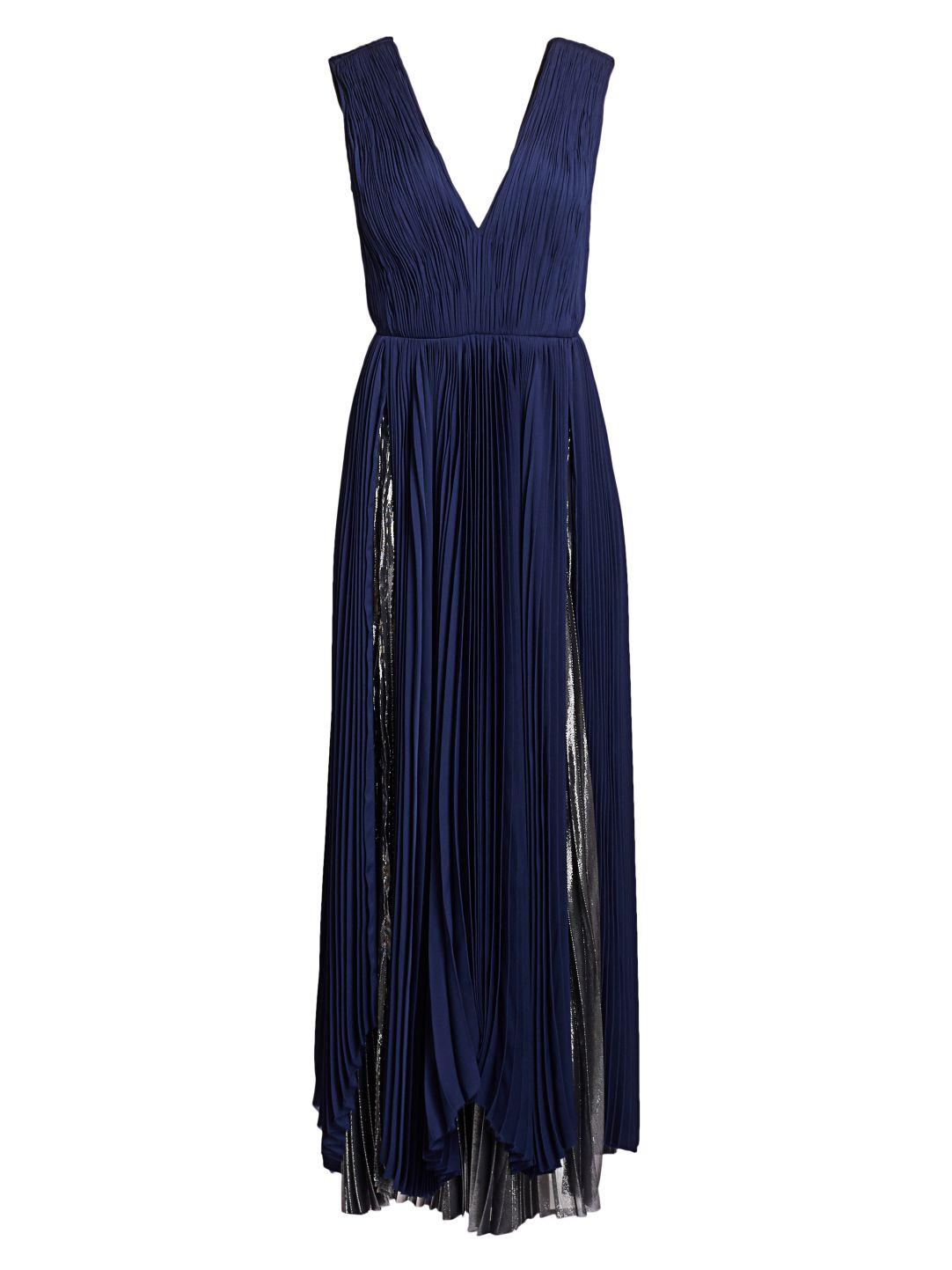 PLEATED METALLIC GOWN 5