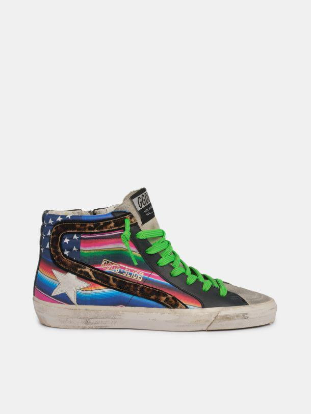 Slide sneakers with multicoloured flag and leopard-print pony skin inserts