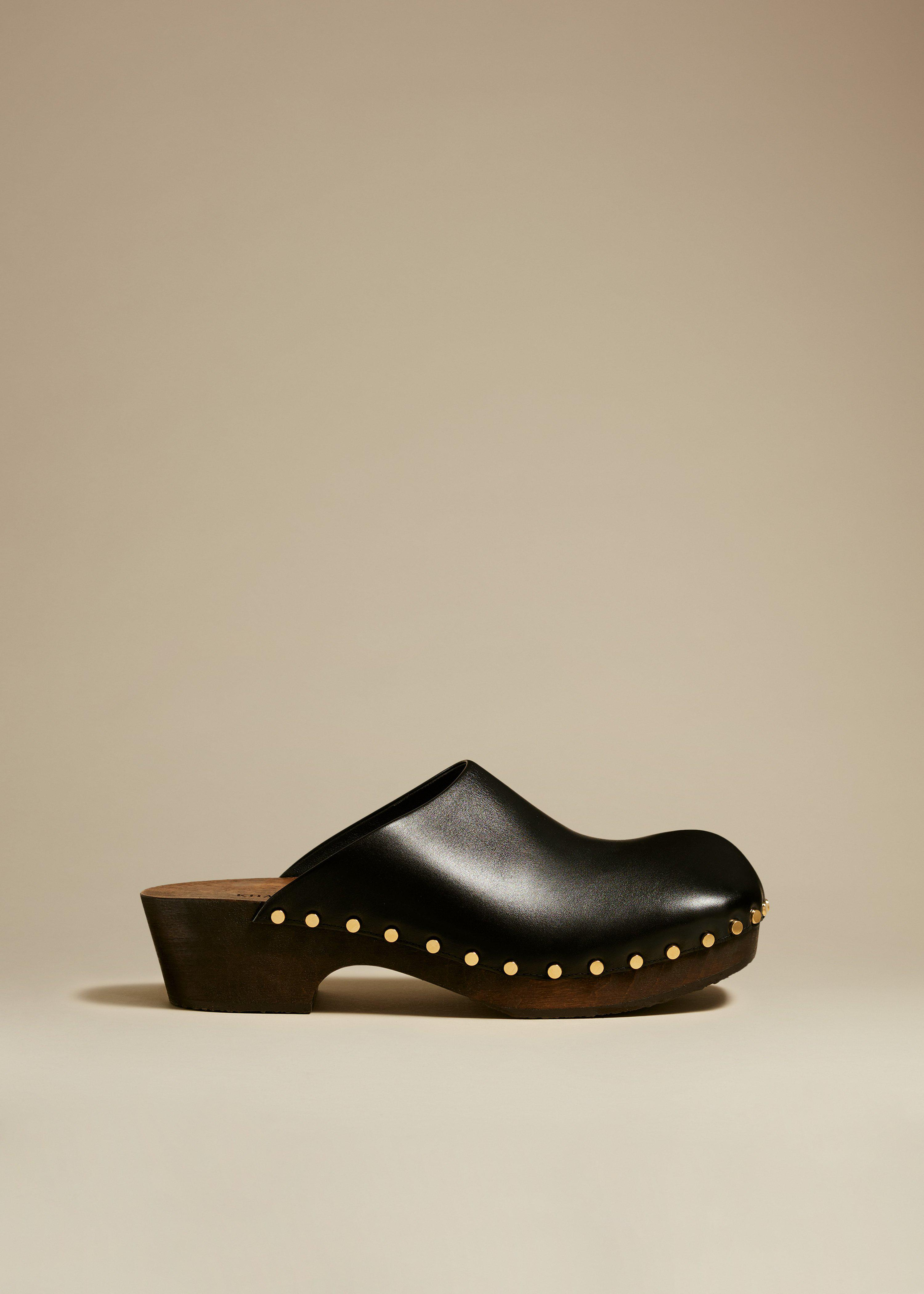 The Lucca Clog in Black Leather