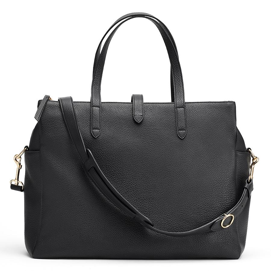 Women's Leather Triple Zipper Overnight Bag in Black | Pebbled Leather by Cuyana