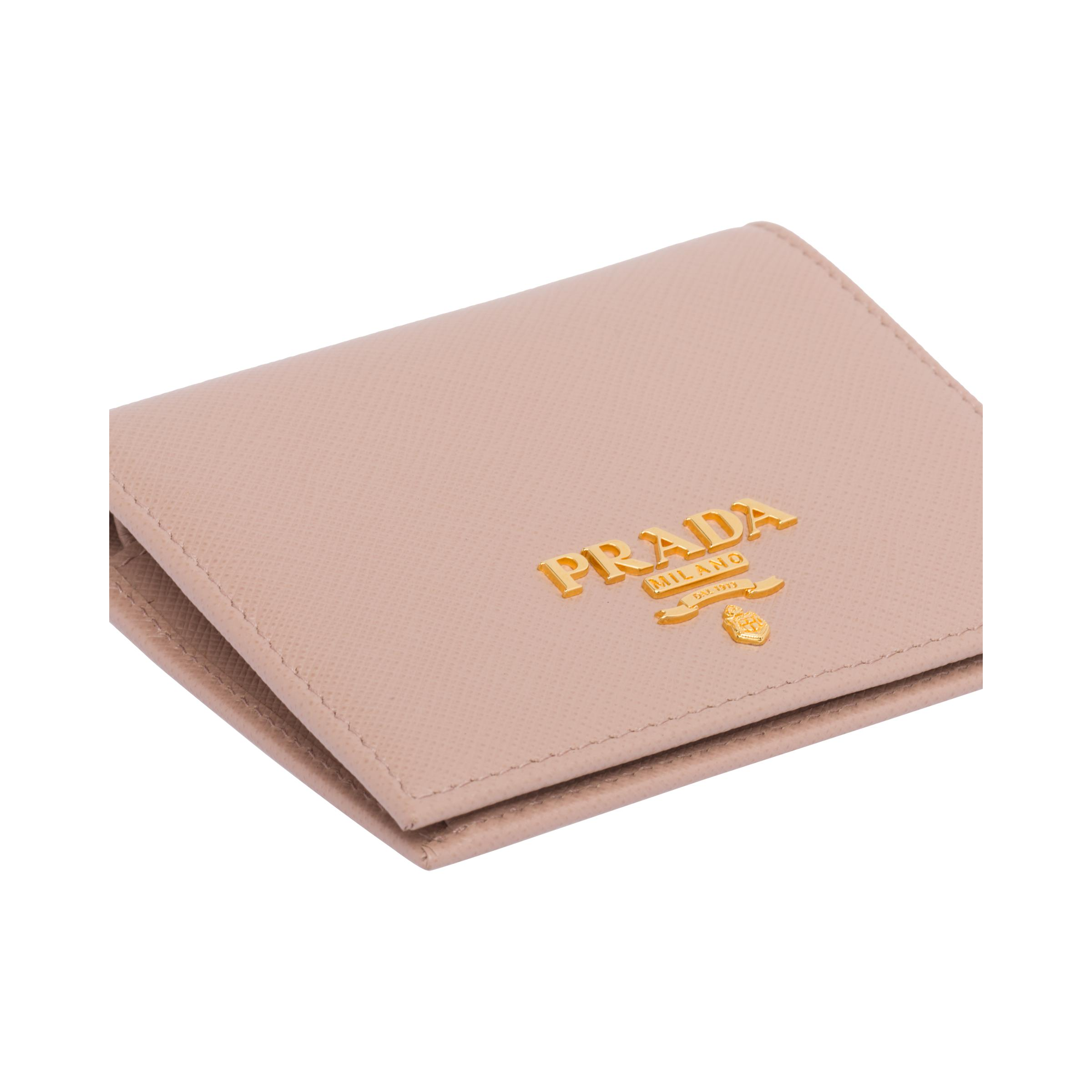 Small Saffiano Leather Wallet Women Powder Pink 5