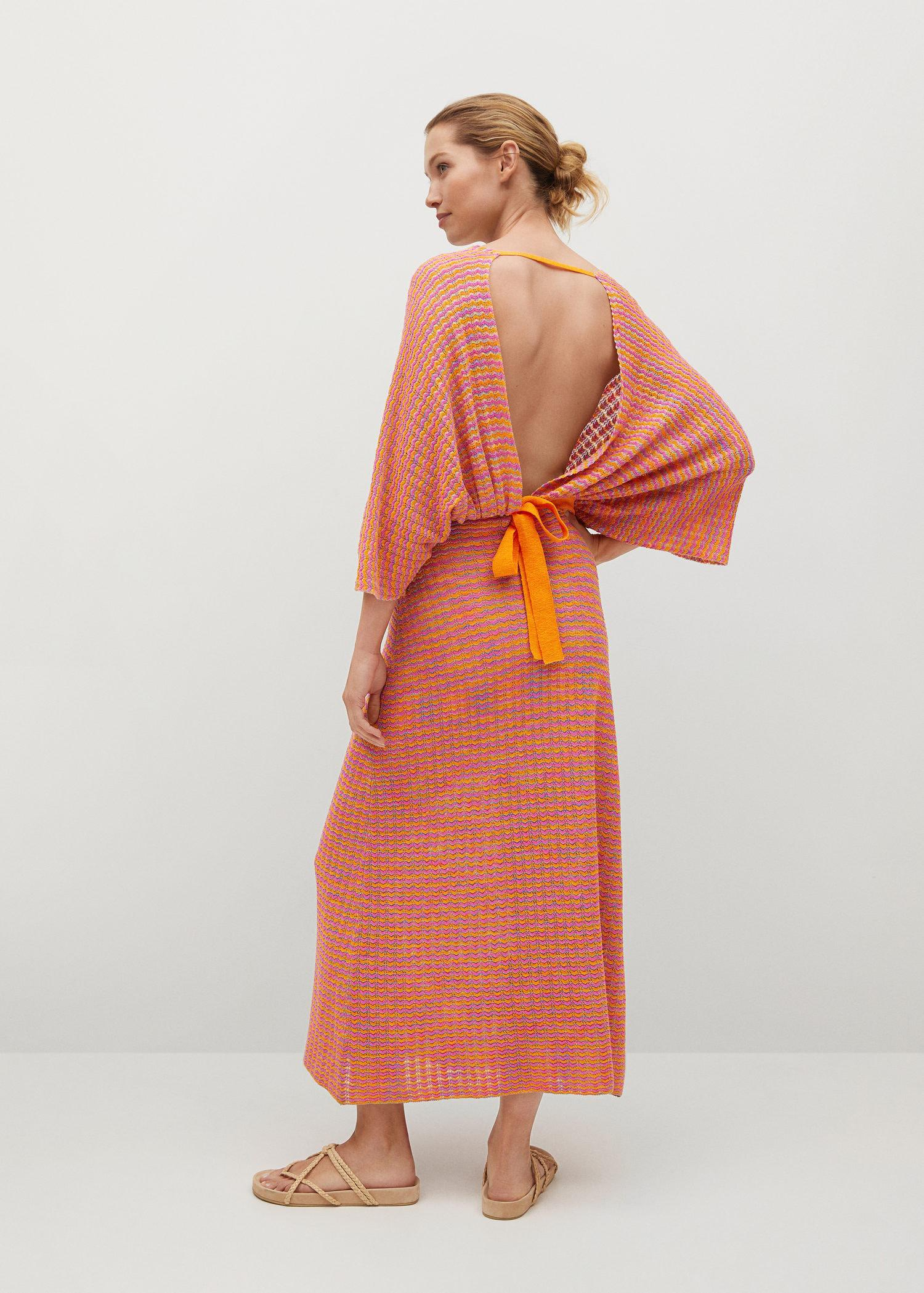 Combined knitted dress with slit 2