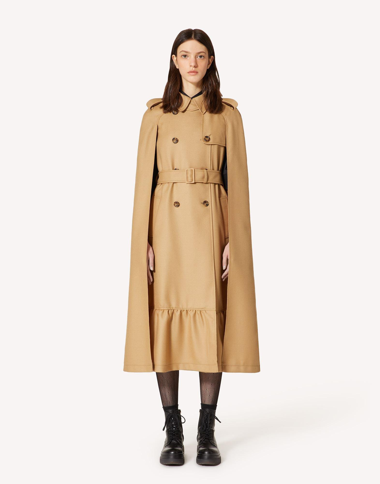 COMPACT WOOL TRENCH-LIKE CAPE 1