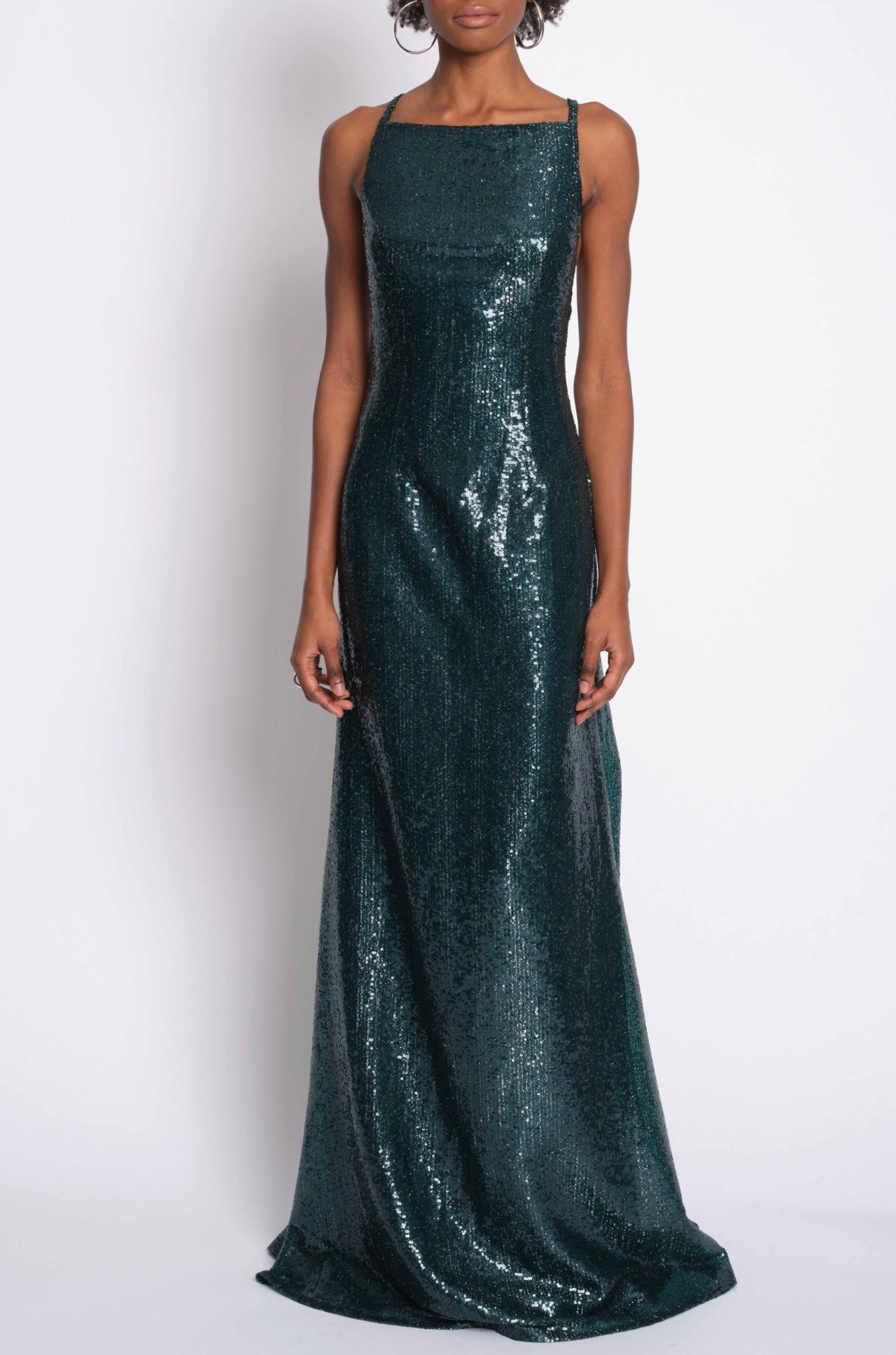 SEQUIN GOWN W/ HIGH NECK