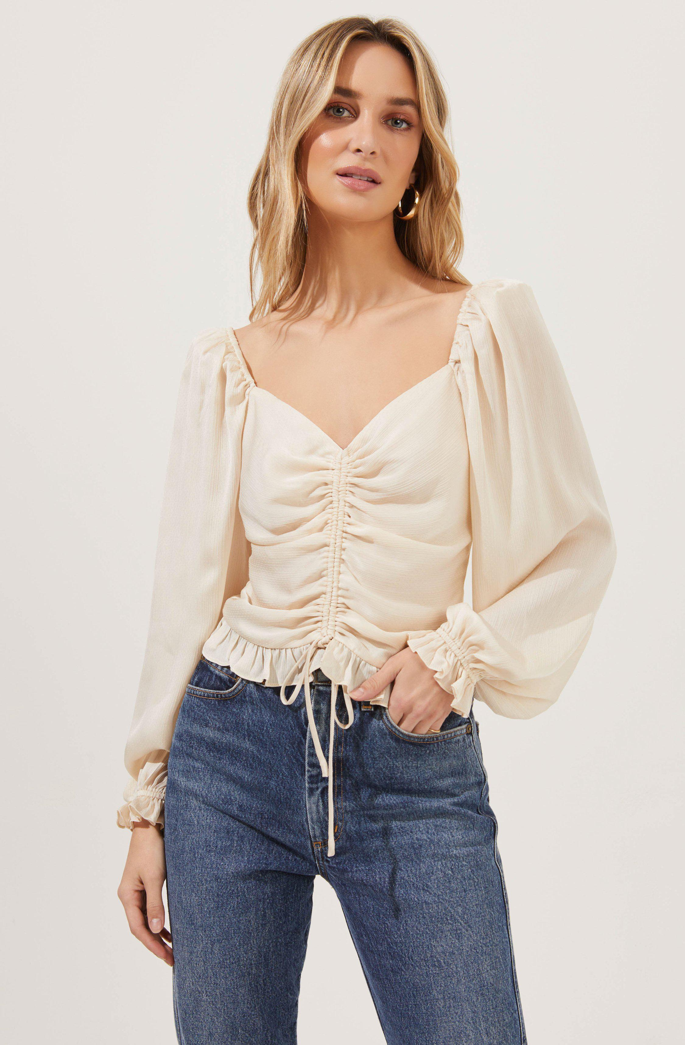 Love Song Ruched Frill Puff Sleeve Top