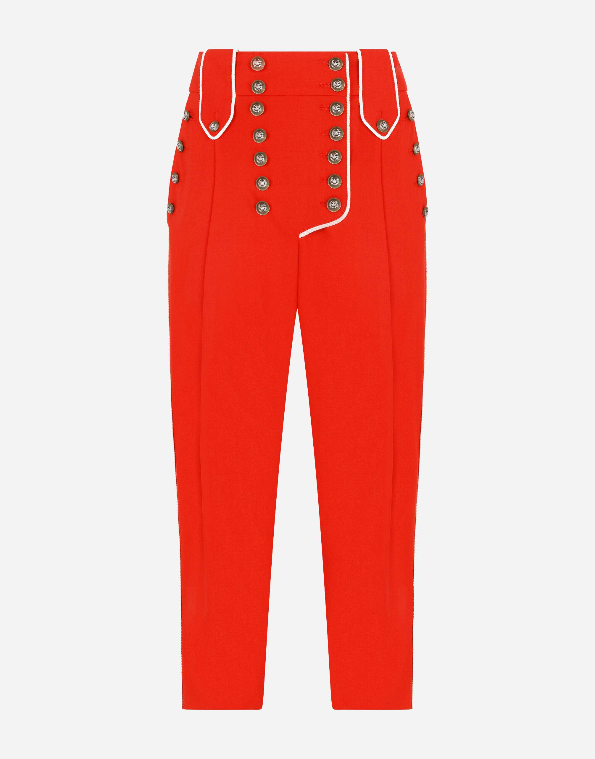 High-waisted woolen pants with heraldic buttons 3