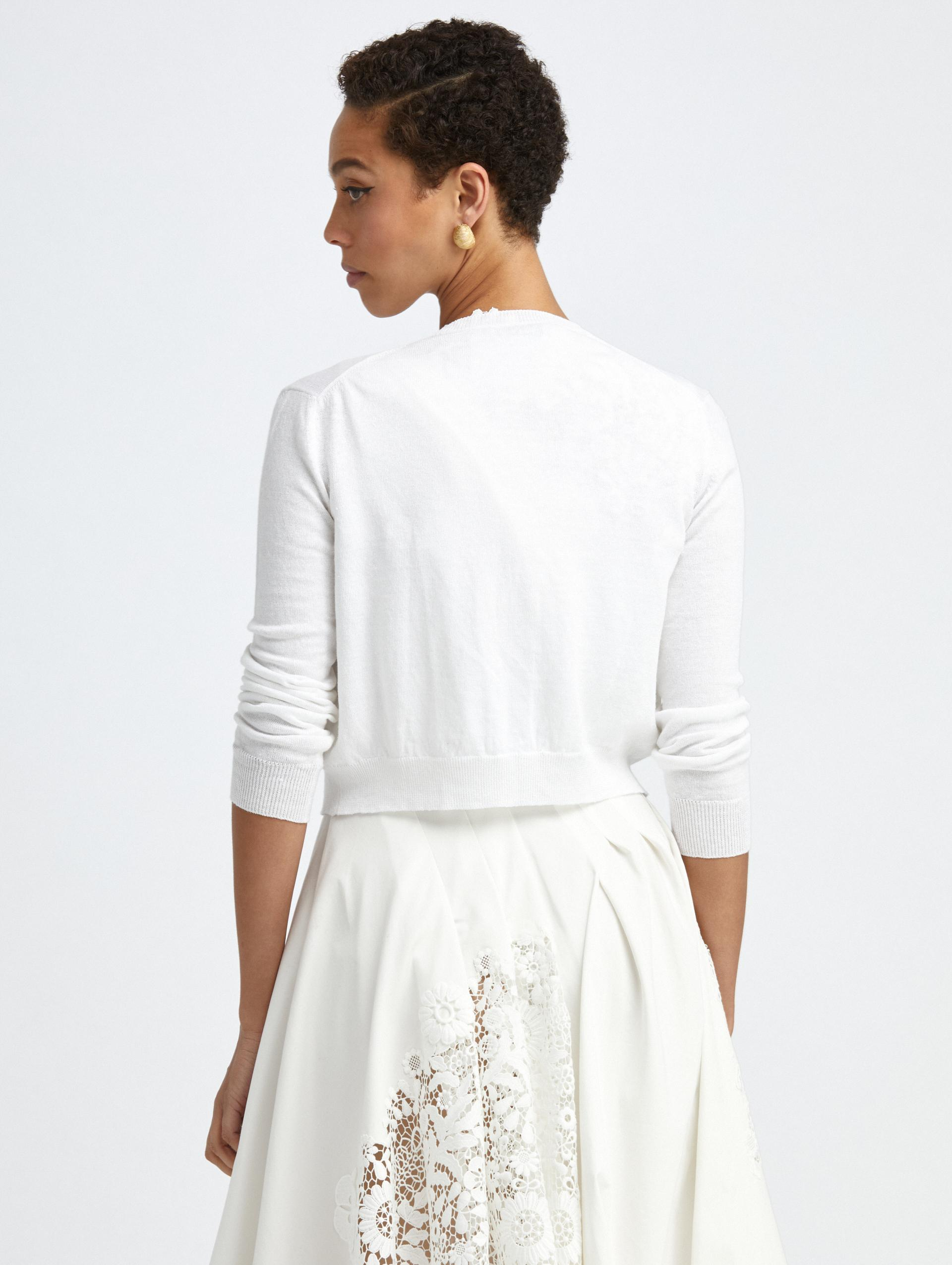 EMBROIDERED IVORY KNIT CARDIGAN 2