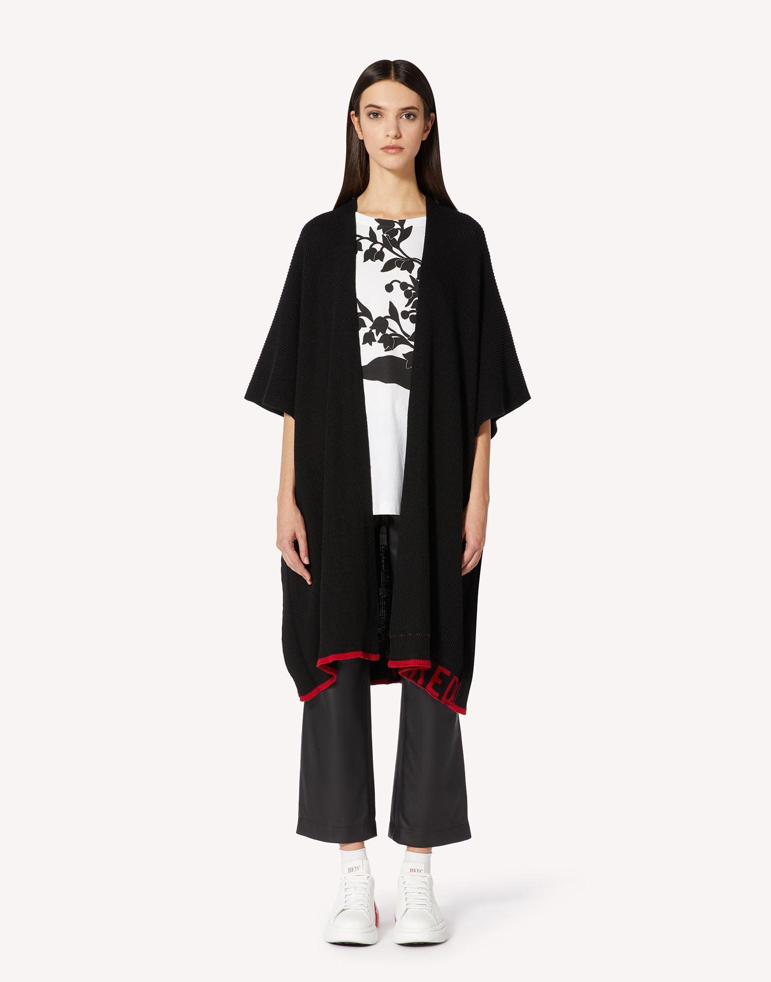 RED EMBROIDERED WOOL-BLEND KNIT CAPE