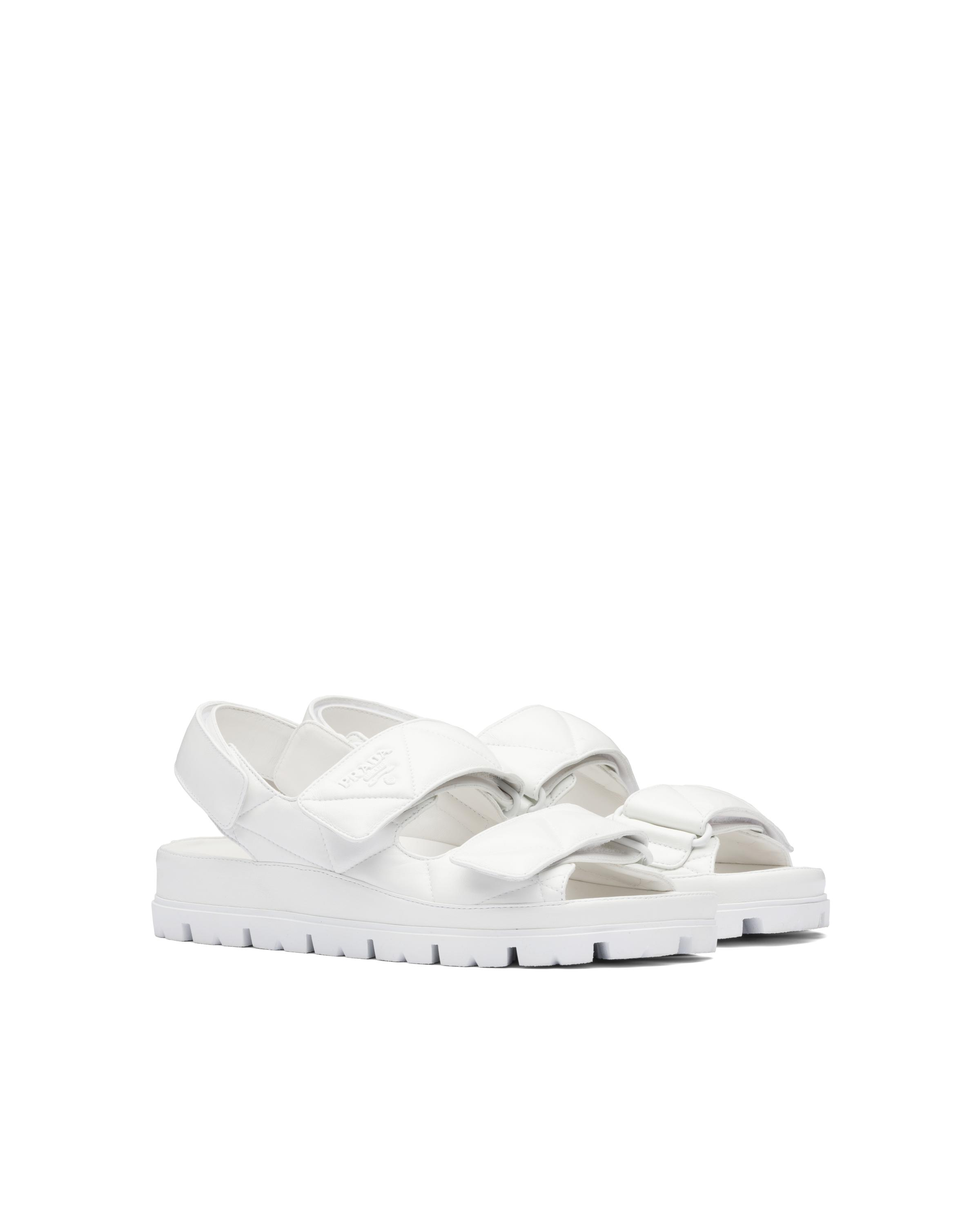 Padded Nappa Leather Sandals Women White 5