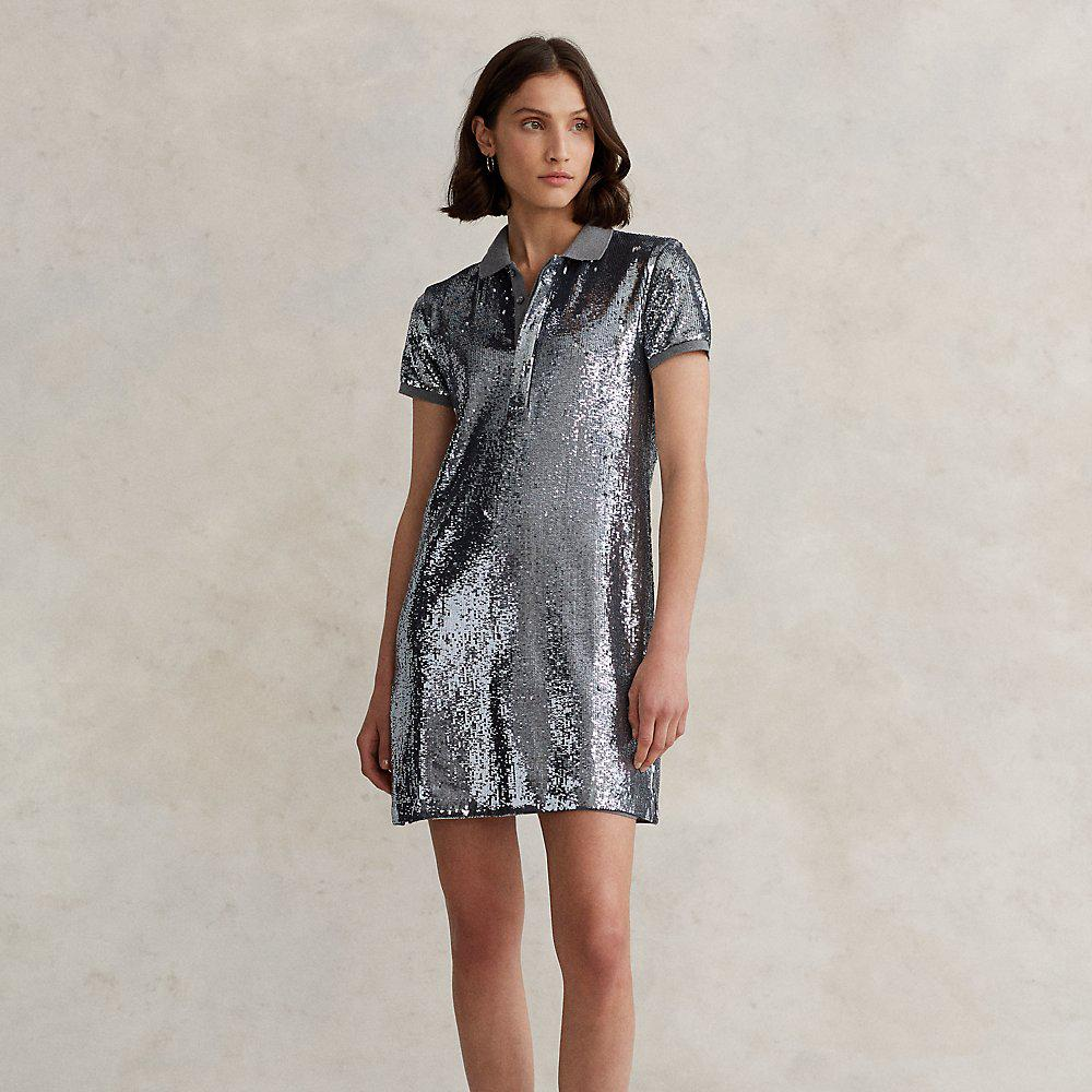 Sequined Mesh Polo Dress