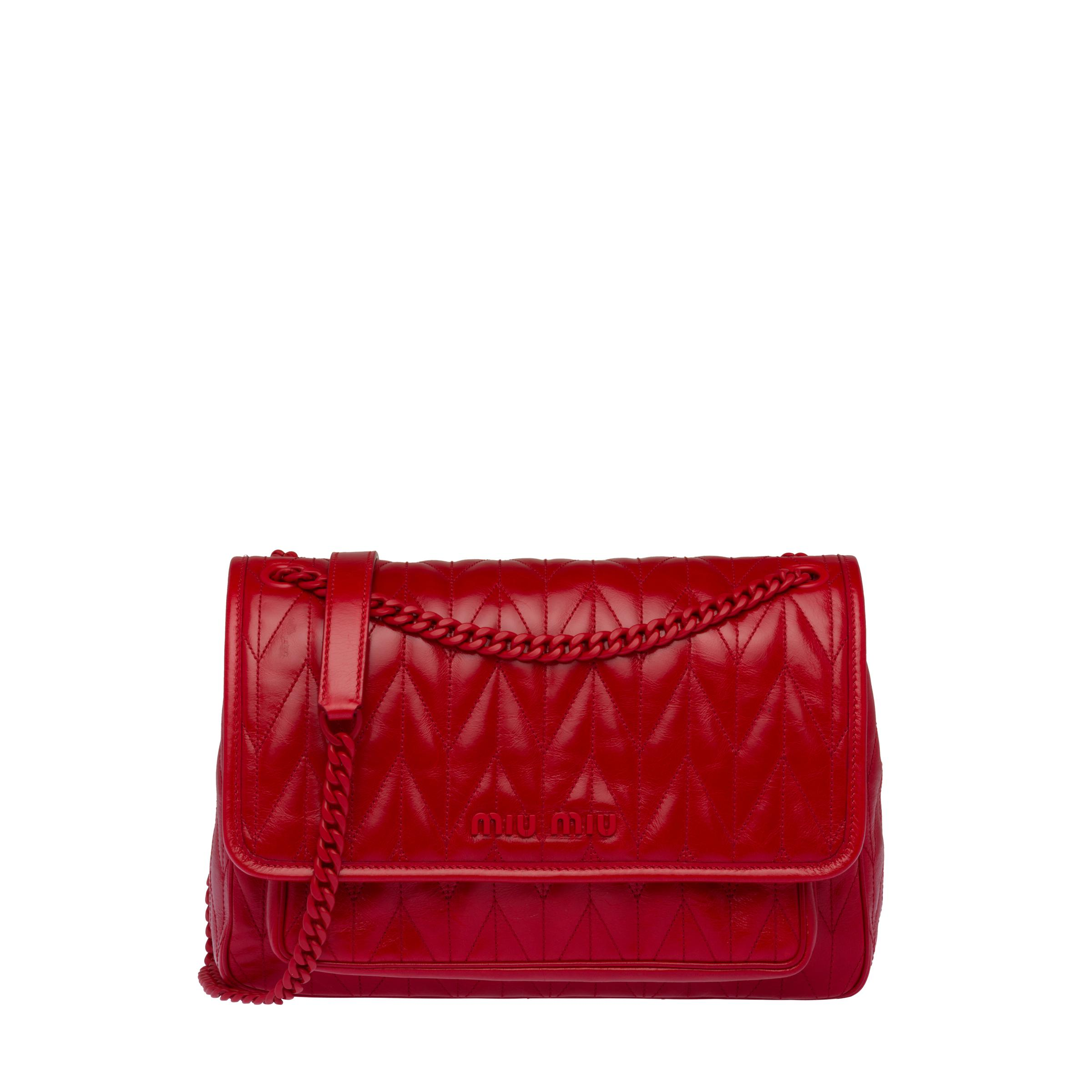 Quilted Shiny Leather Shoulder Bag Women Red