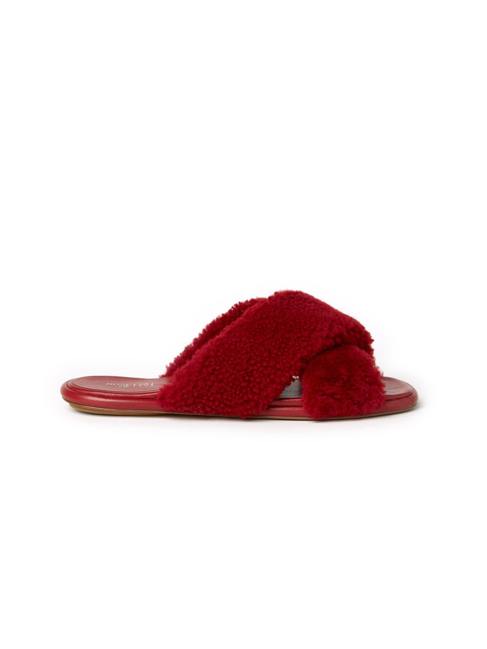 Flat Crossover Sandals Rouge 4