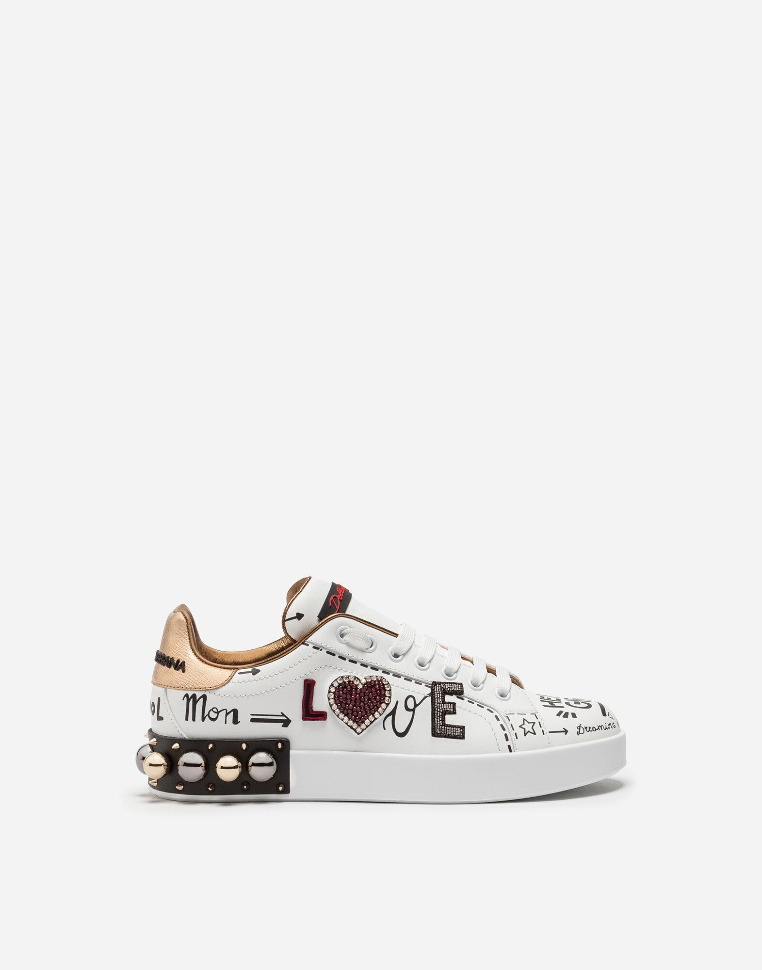 Printed calfskin Portofino sneakers with patch and embroidery 0