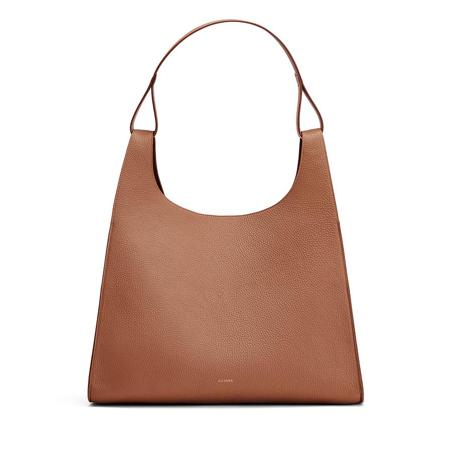 Women's Oversized Double Loop Bag in Caramel | Pebbled Leather by Cuyana