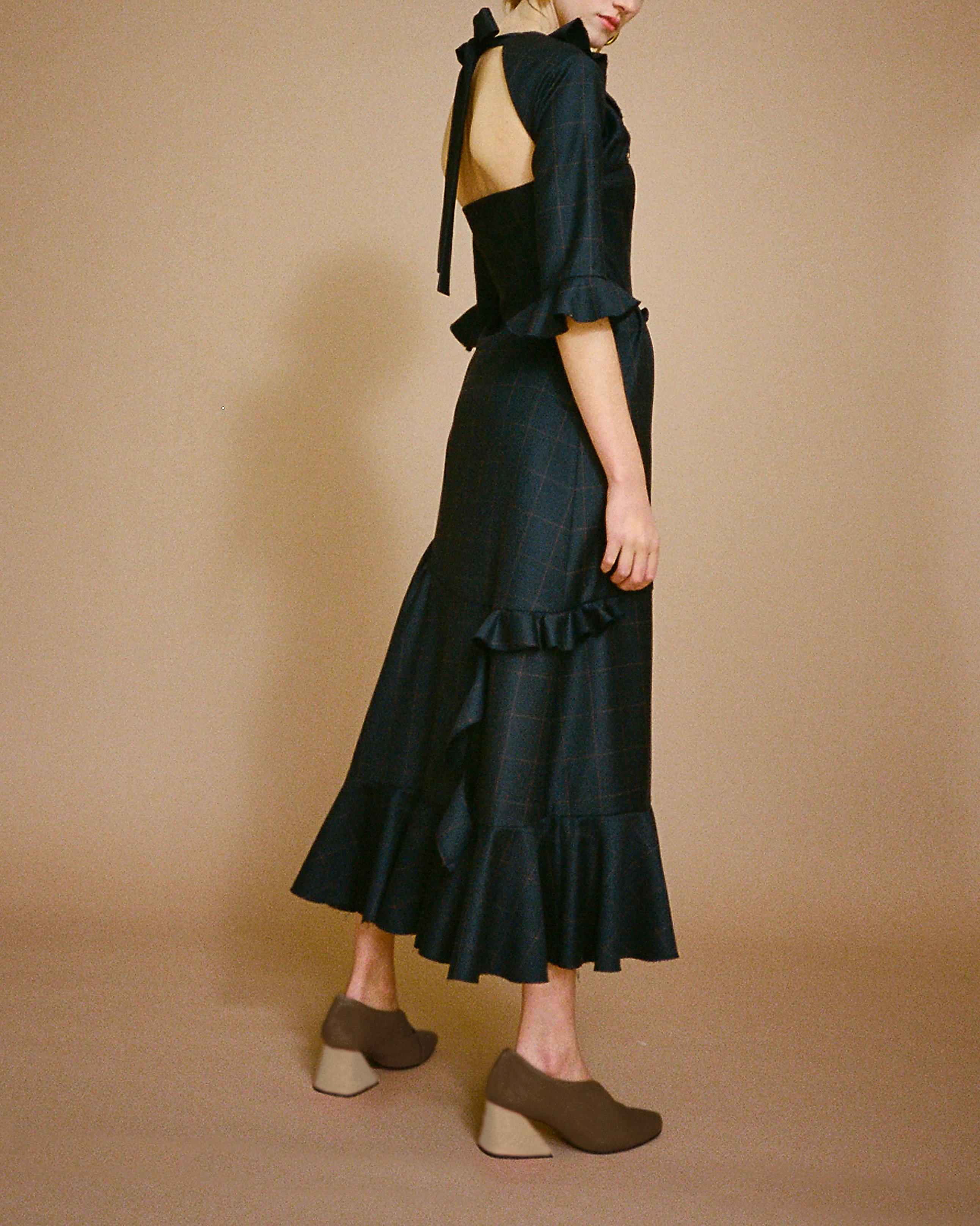Alina Dress Navy Check Wool Suiting - SPECIAL PRICE