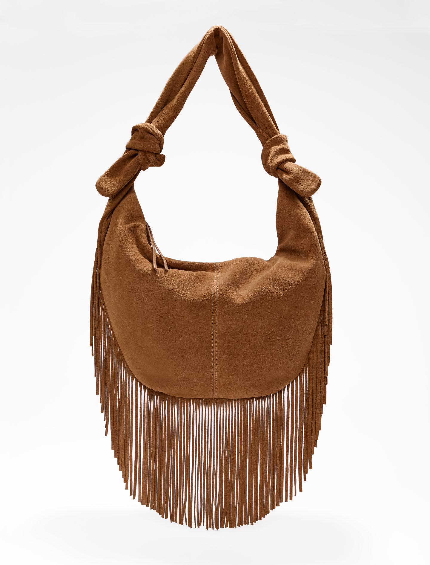 SUEDE TIE BAG WITH FRINGING