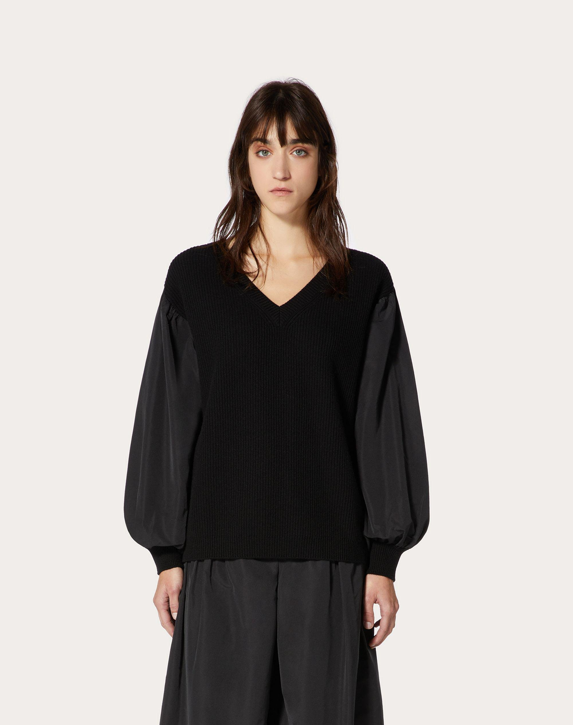 Cashmere Wool and Micro-Faille Sweater 1