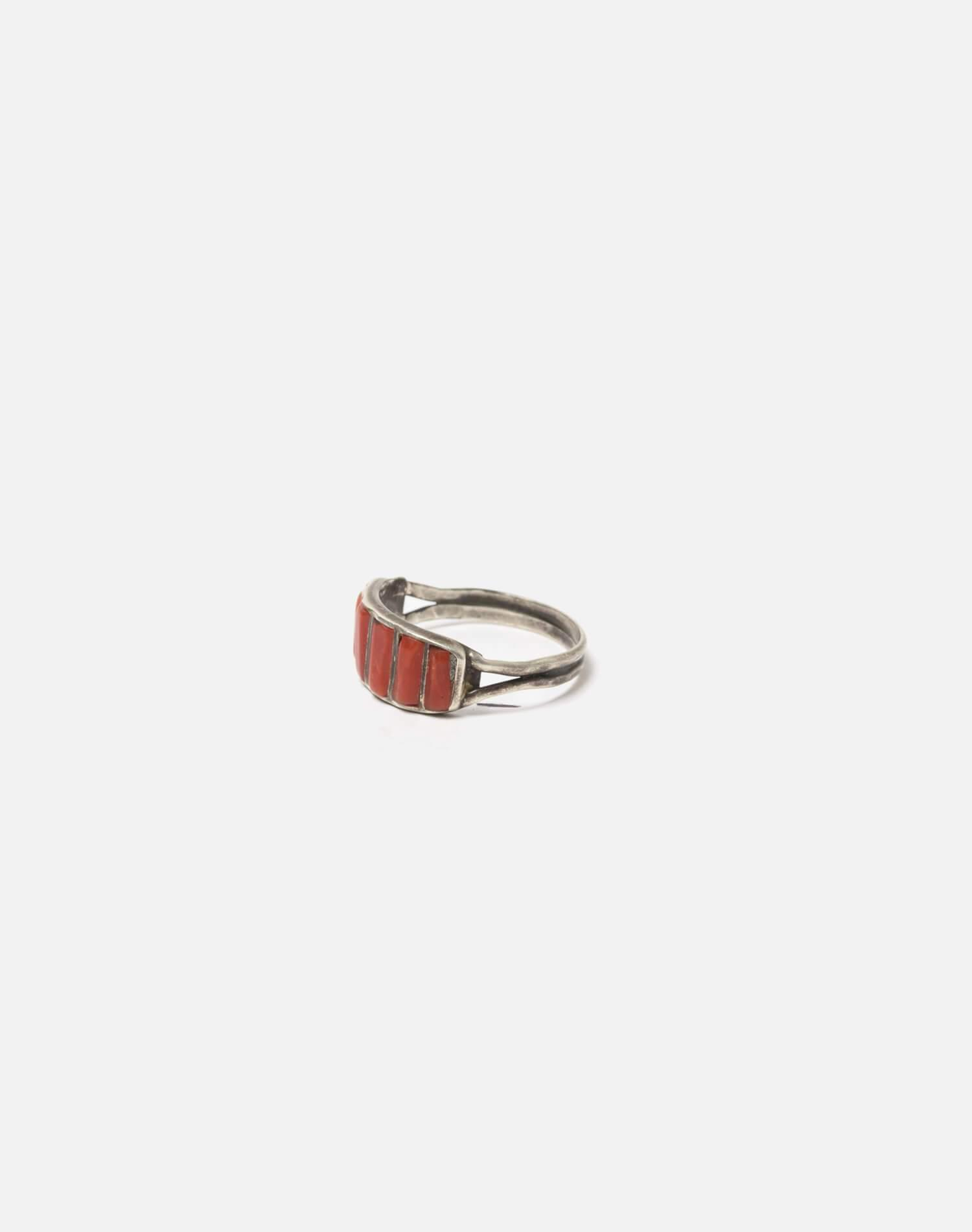 1950s Zuni Inlaid Coral And Sterling Ring - #100 1