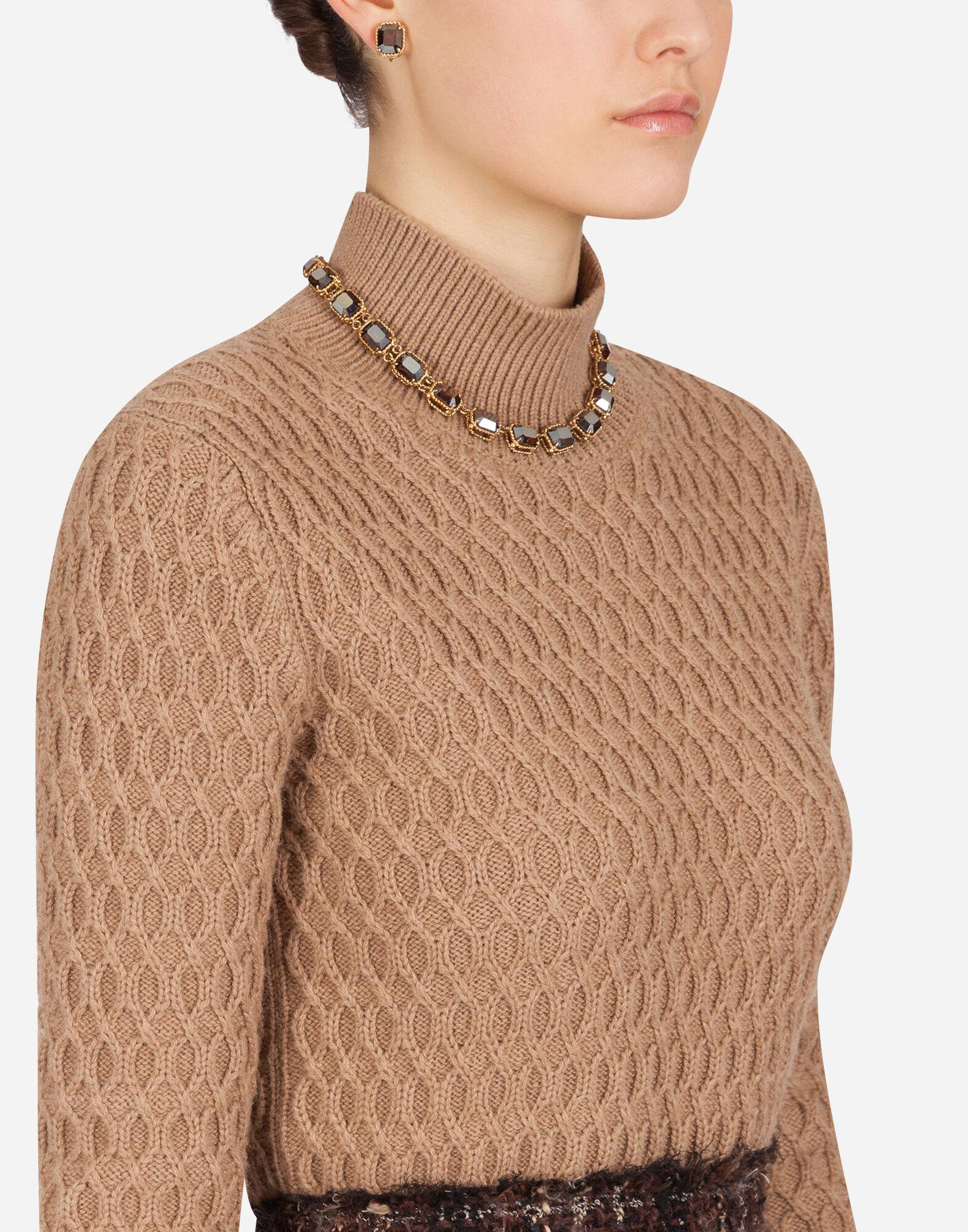High-neck sweater in camel with rhombus stitch 2