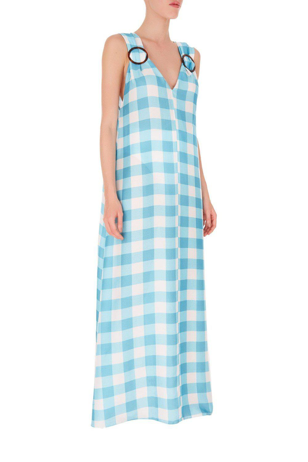 Vichy Long Dress With Hoops