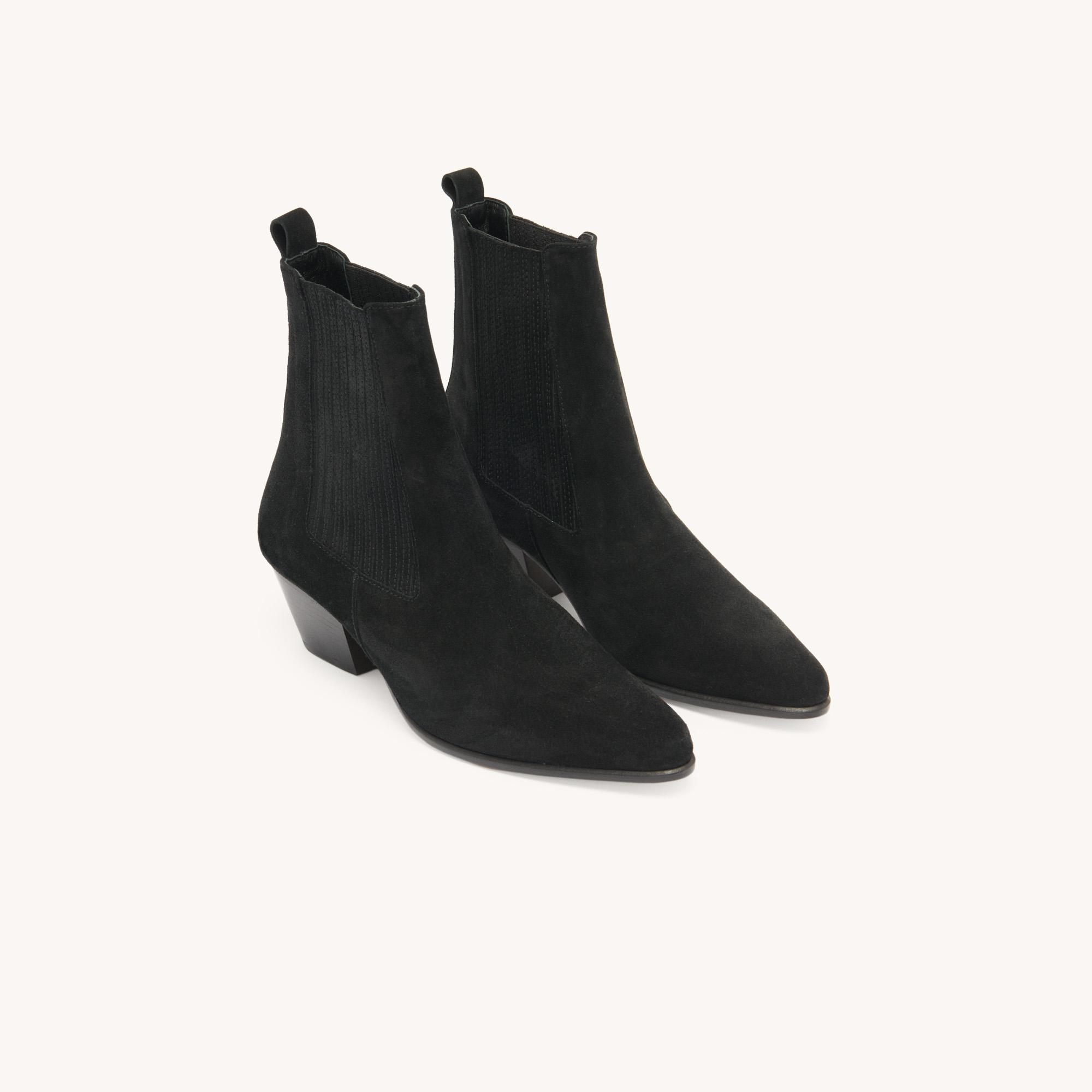 Leather ankle boots with elastic 2