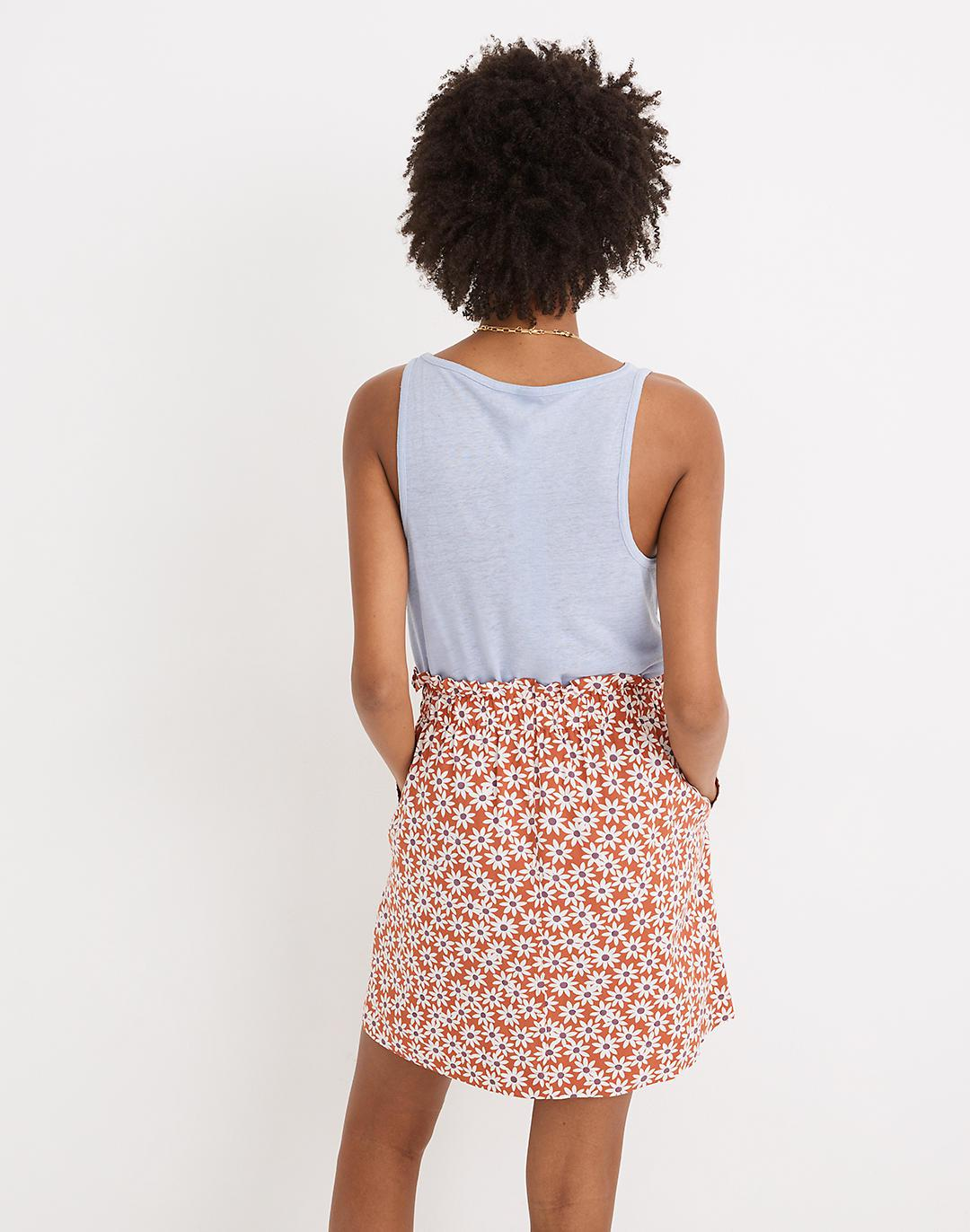 Paperbag Button-Front Mini Skirt in Falling Daisies 2