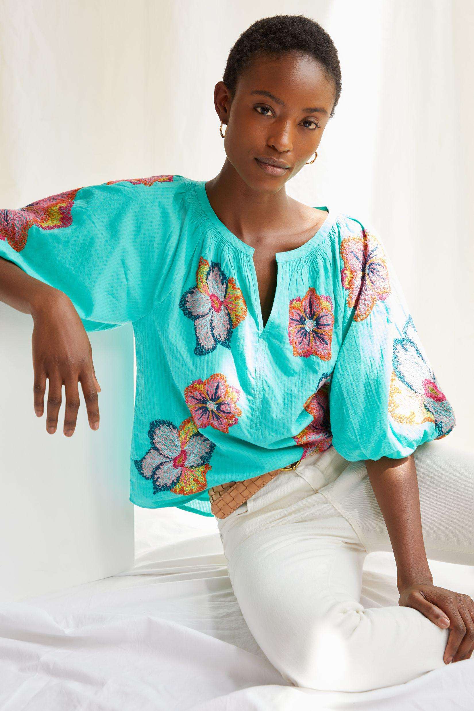 Maeve Embroidered Peasant Blouse