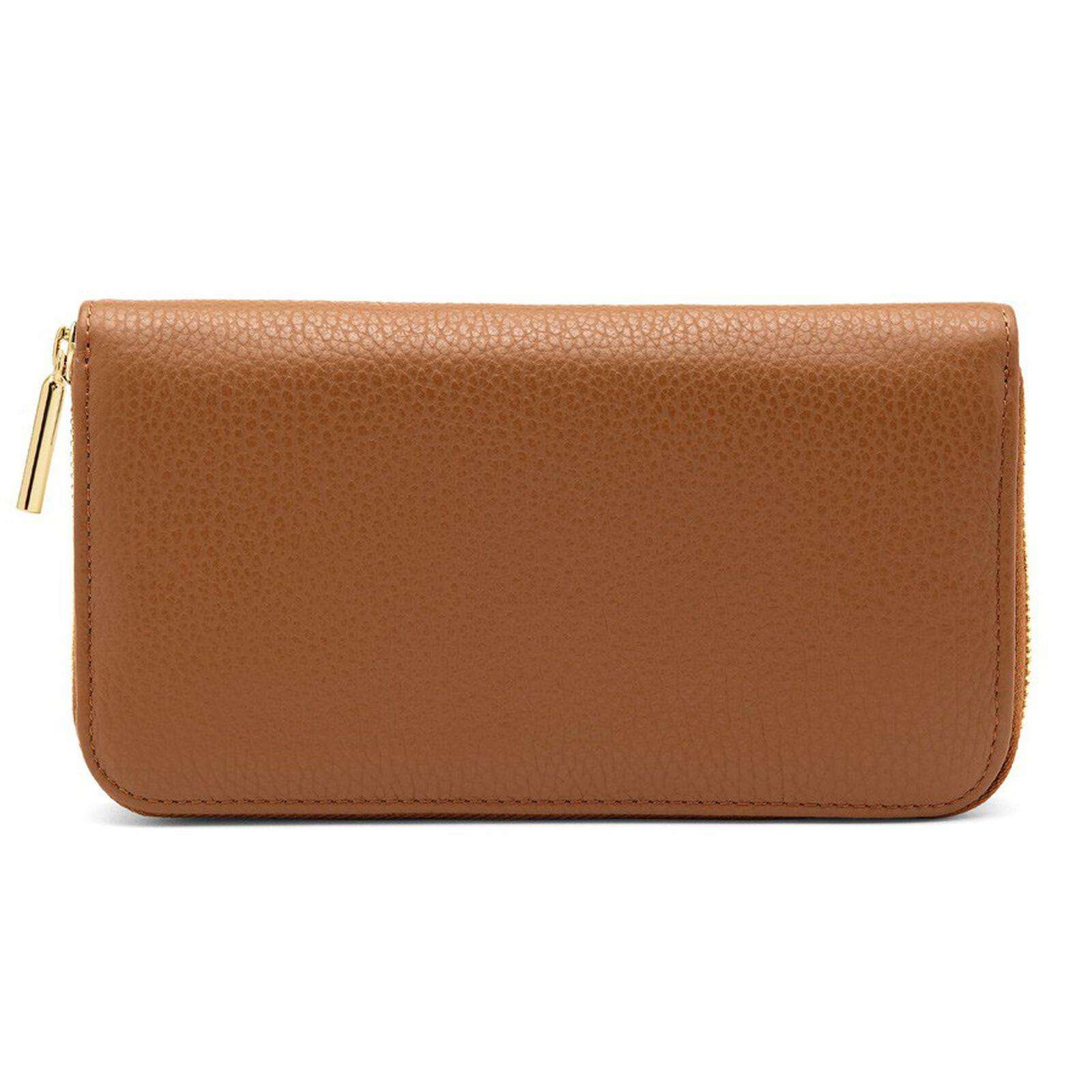 Women's Classic Zip Around Wallet in Caramel/Blush Pink | Pebbled Leather by Cuyana