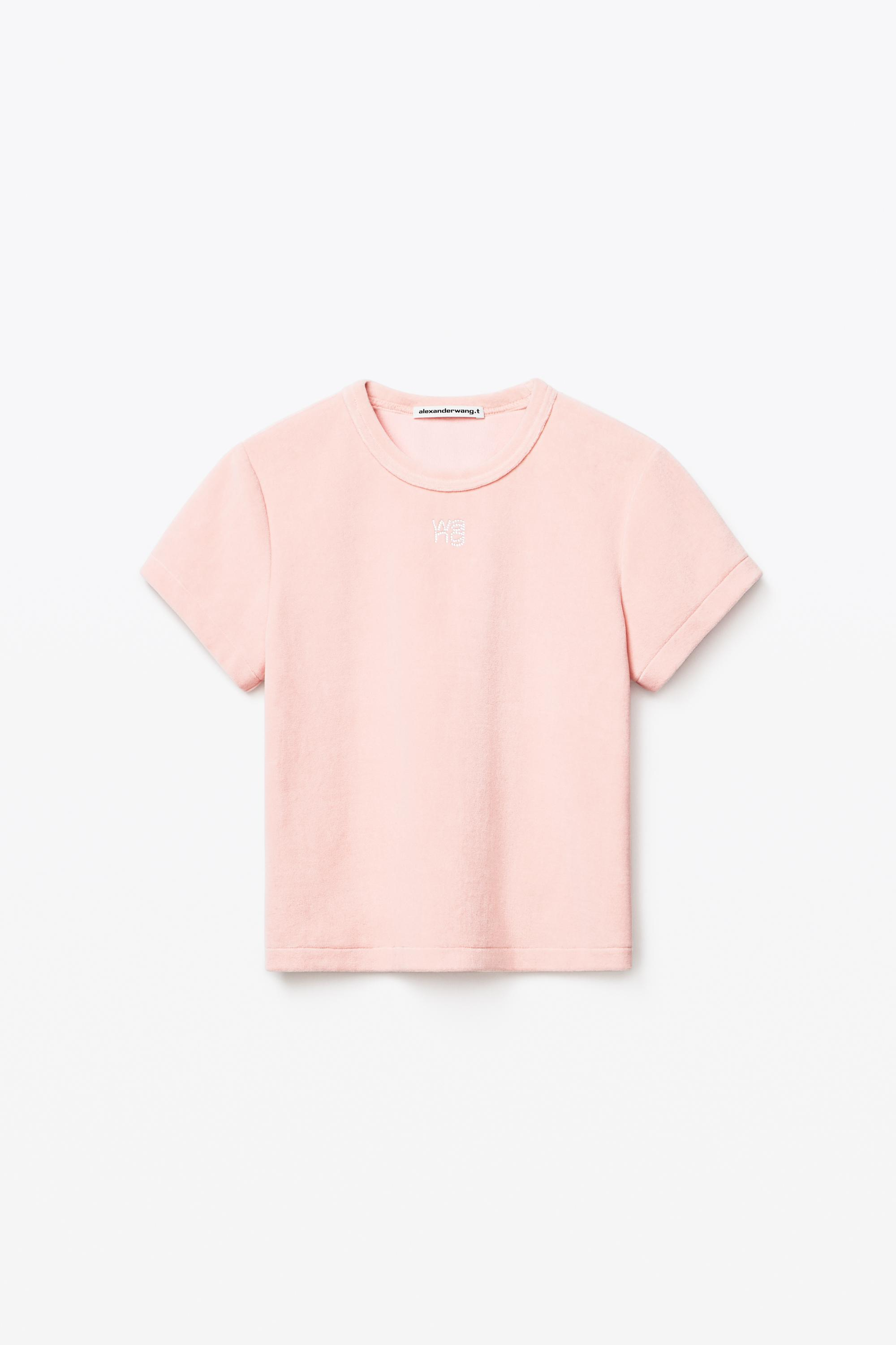 crystal logo baby tee in soft velour 1