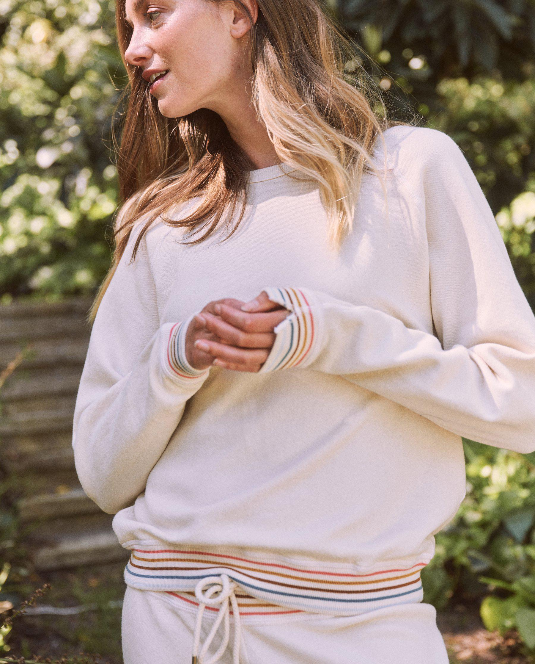 The College Sweatshirt. Novelty -- Washed White with Striped Rib 2