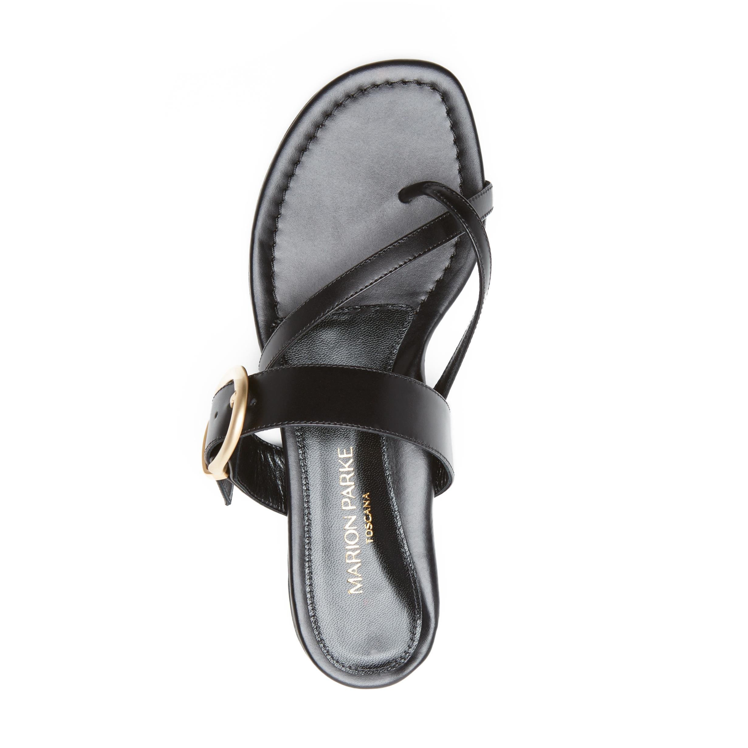 Hayley | Leather Thong Sandal With Metal Buckle Detail 2