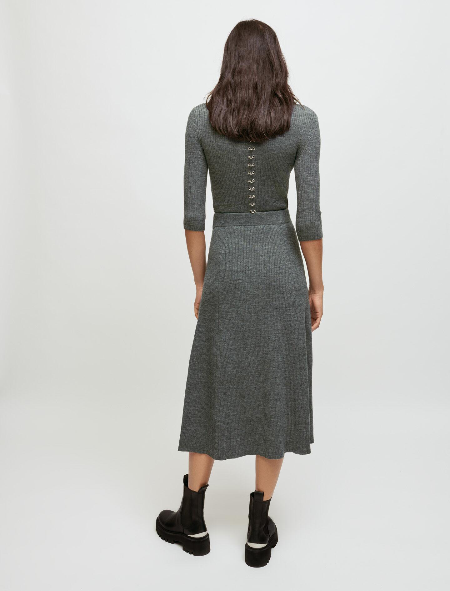 KNITTED SLIT SKIRT WITH PIERCINGS 2