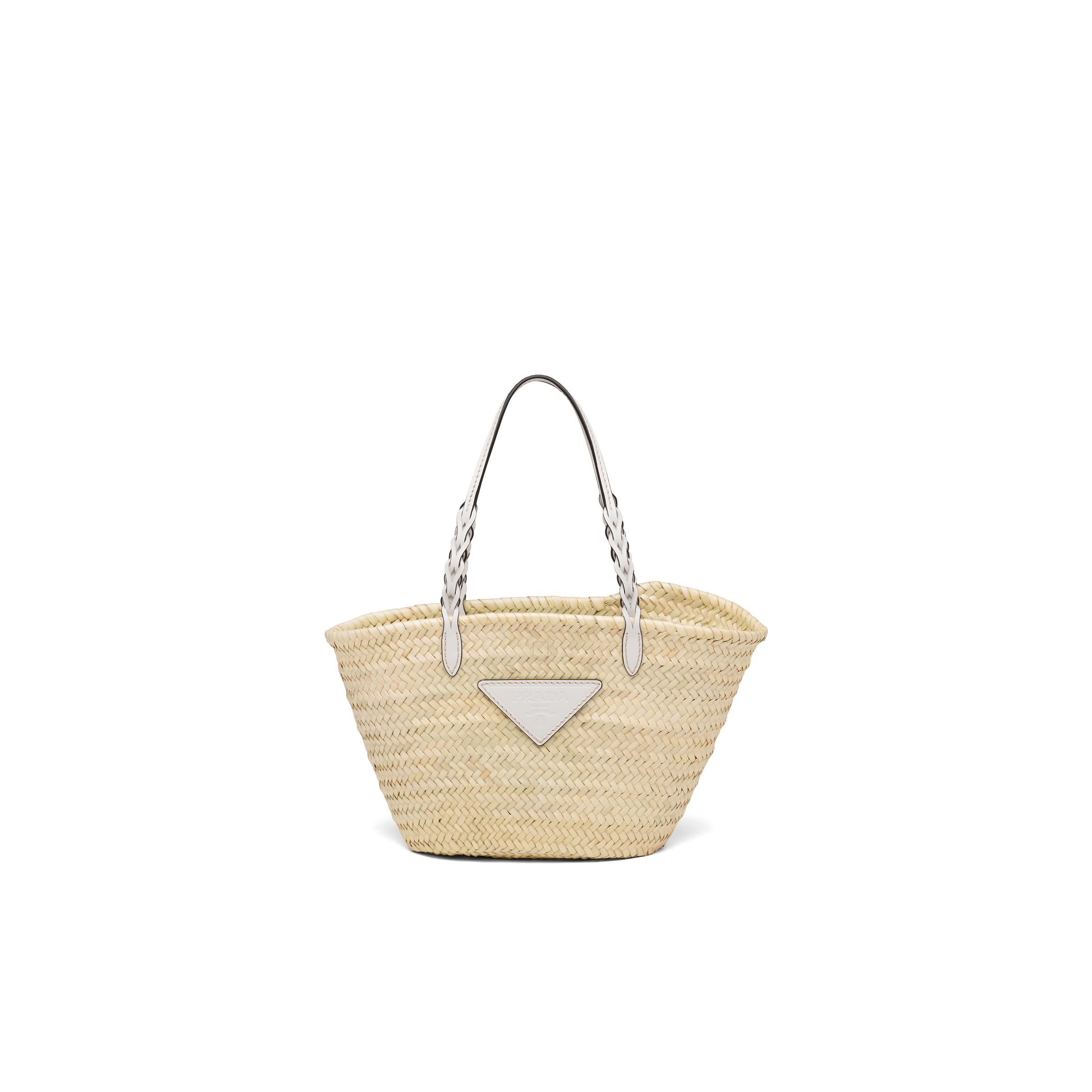 Woven Palm And Leather Tote Women Tan/white