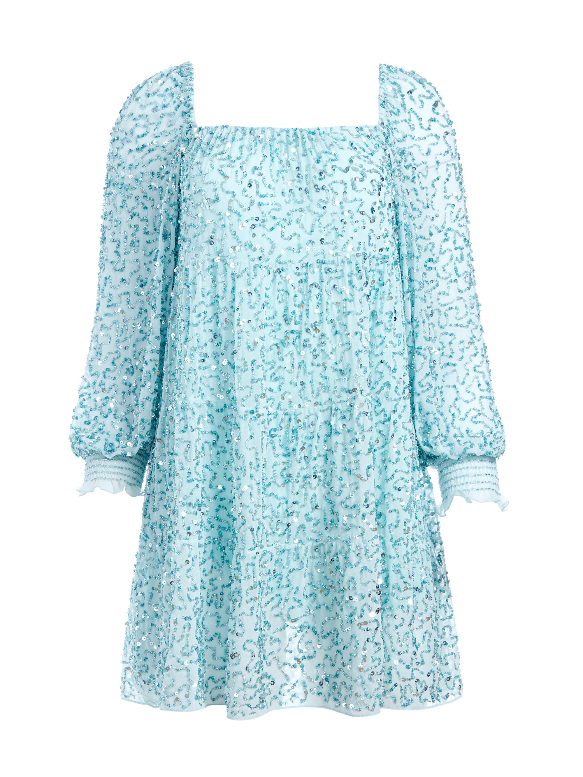 ROWEN SEQUIN EMBROIDERED MINI DRESS 6