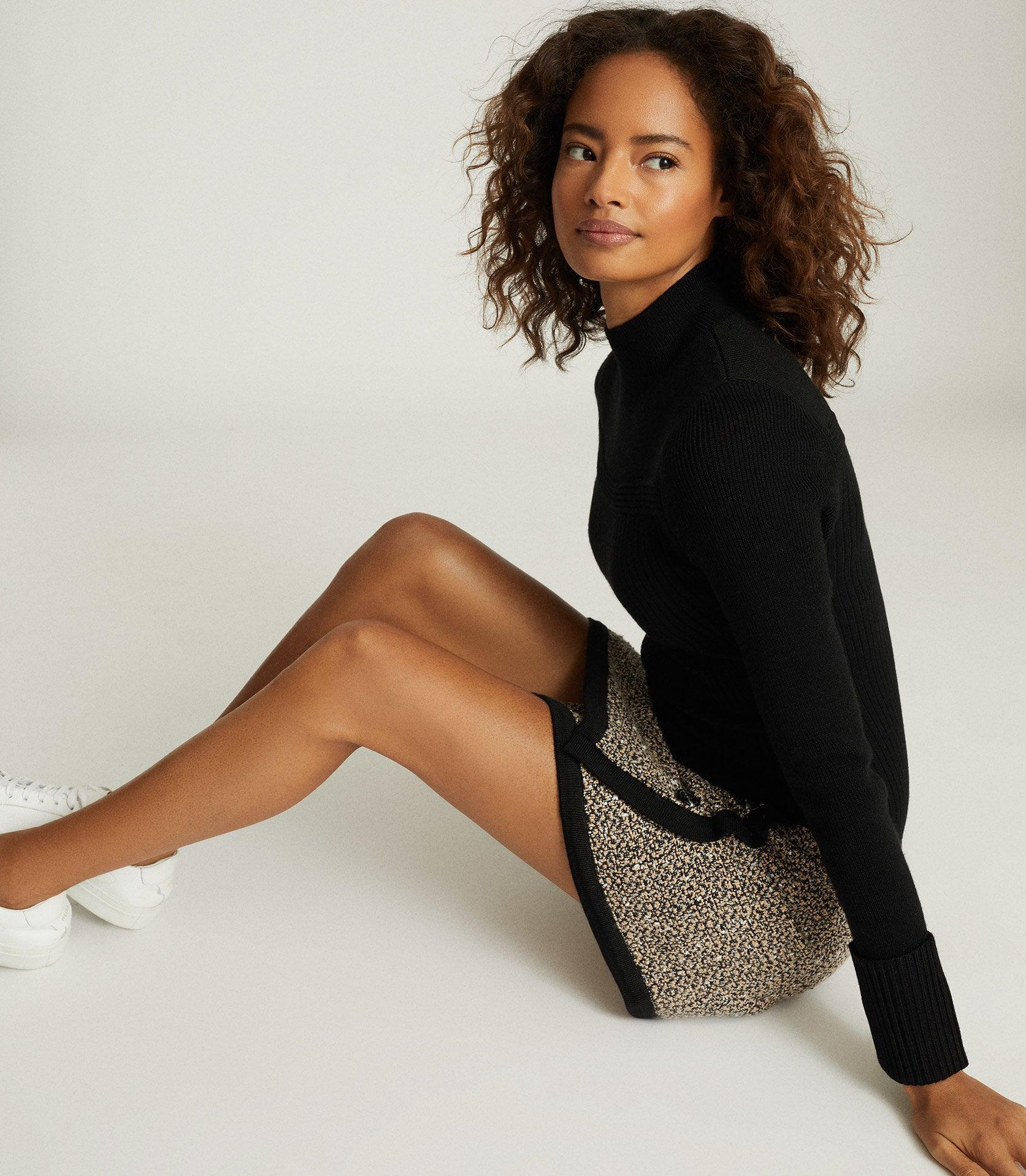 KELLY - KNITTED DRESS WITH CONTRAST SKIRT