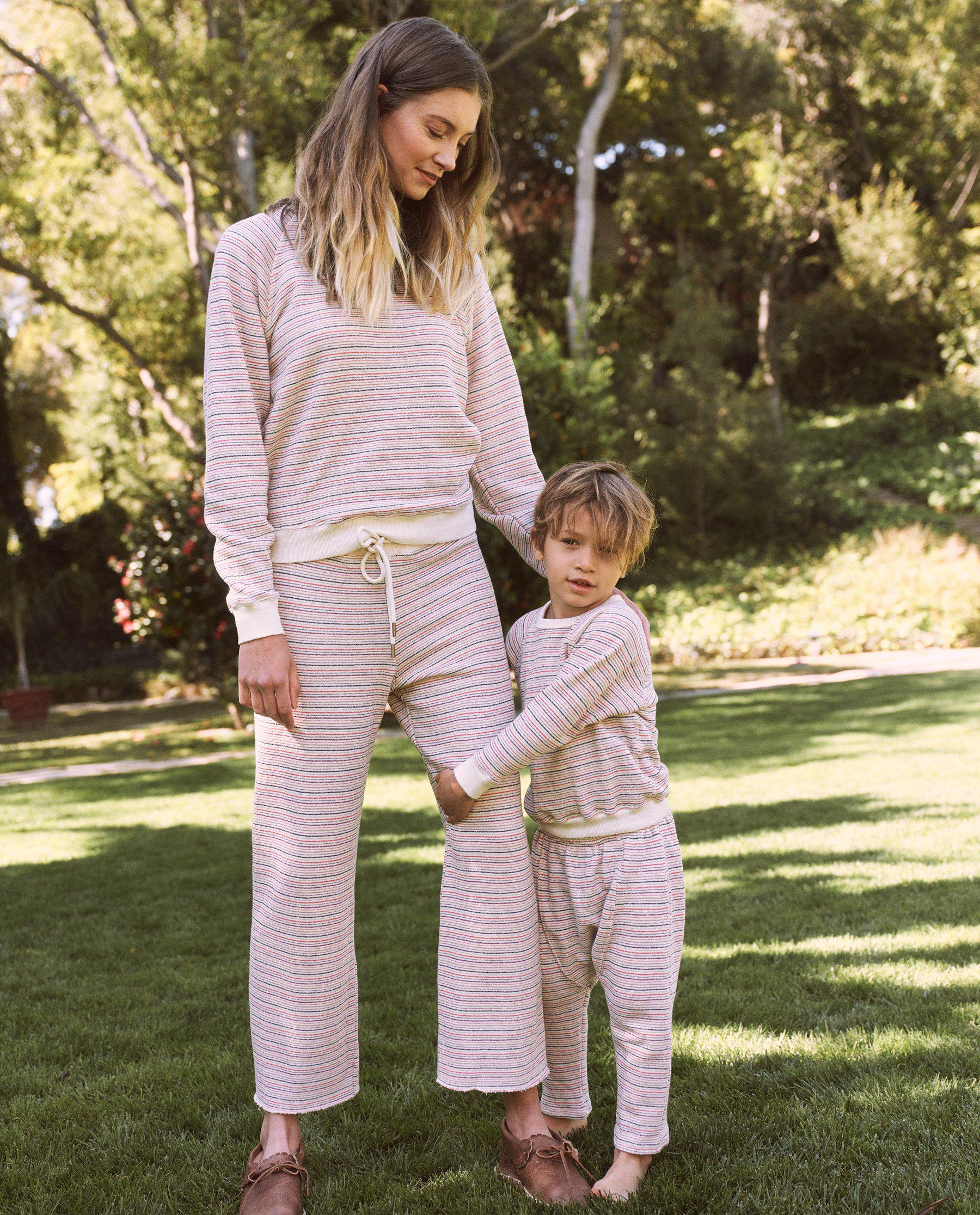 The Wide Leg Cropped Sweatpant. -- Washed White Colorful Stripe 4