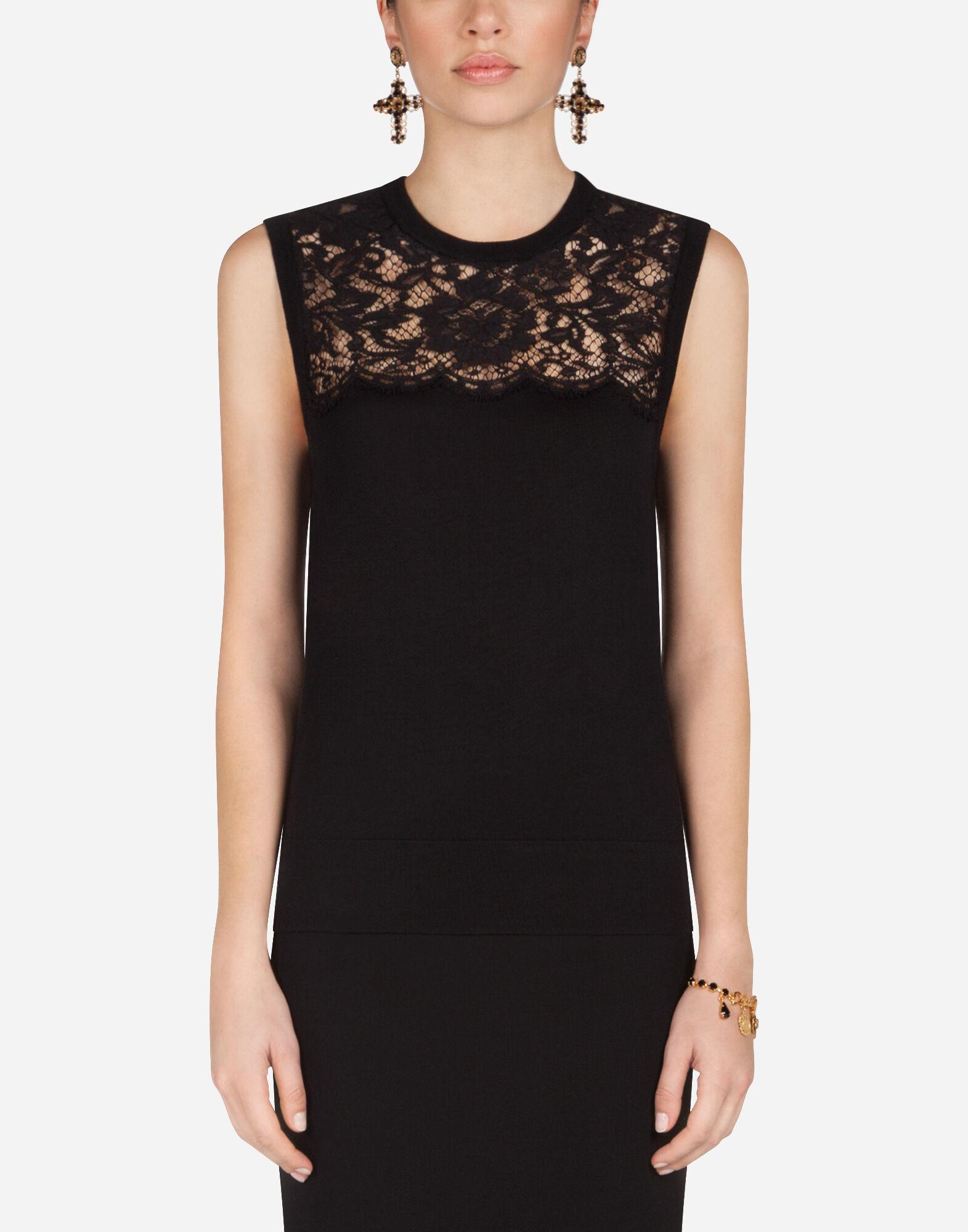 Sleeveless virgin wool and lace top