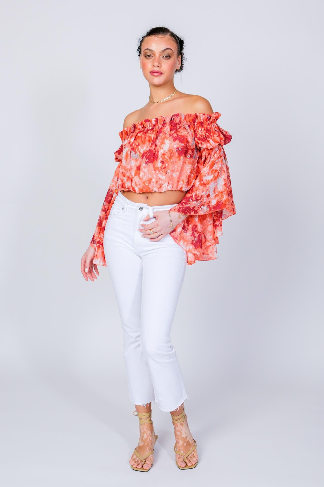 Red Swirl Brittney Off The Shoulder Bell Sleeve Top