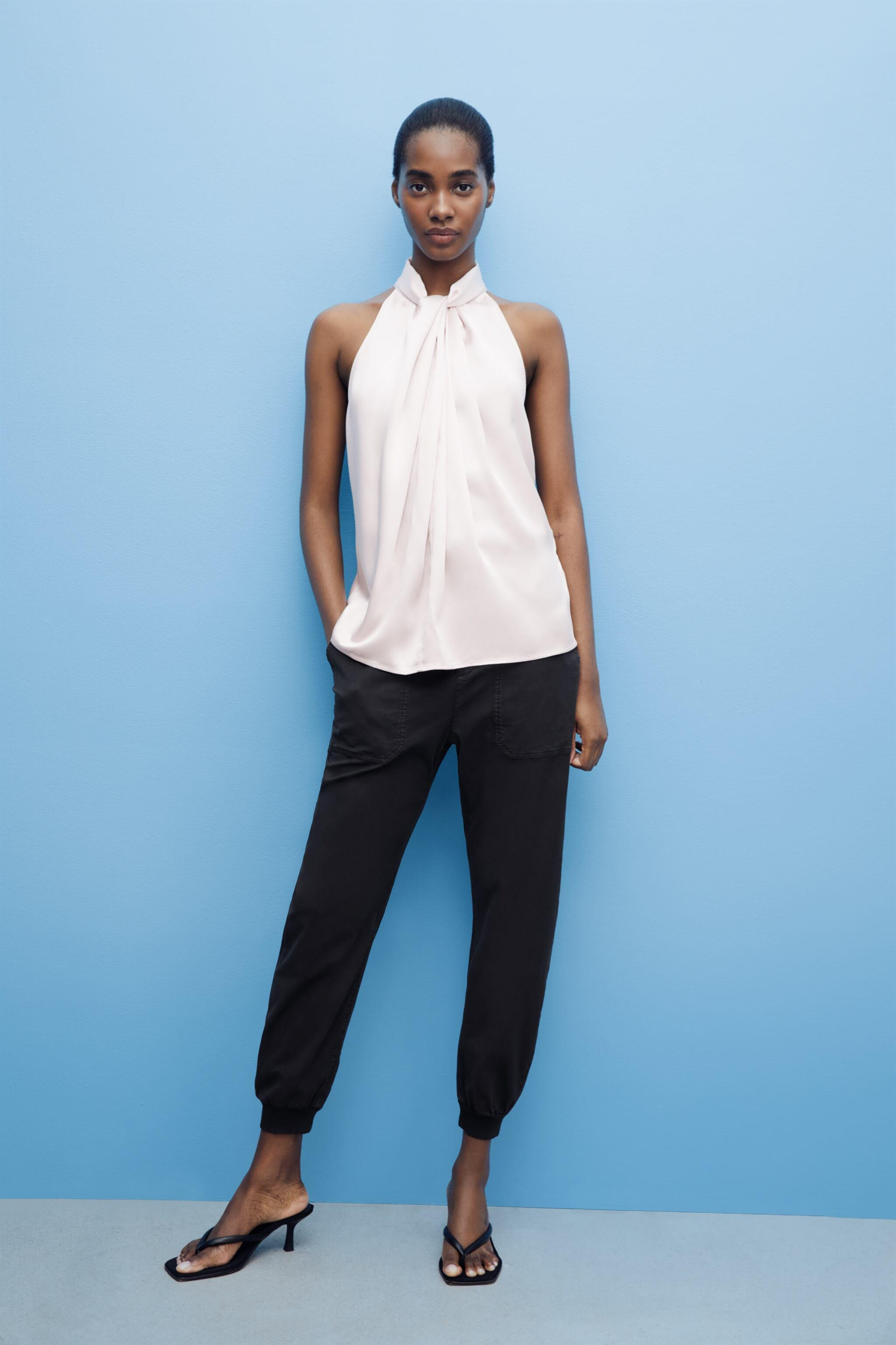 KNOTTED SATIN EFFECT TOP