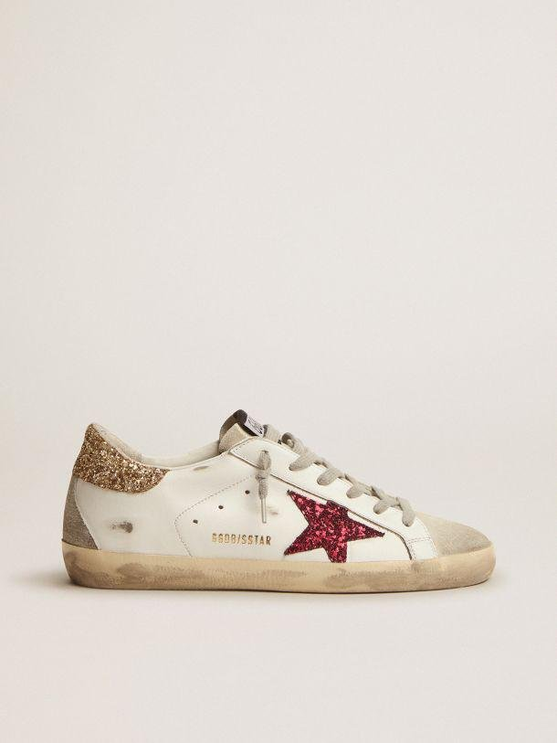 Super-Star sneakers with colored glitter star and heel tab