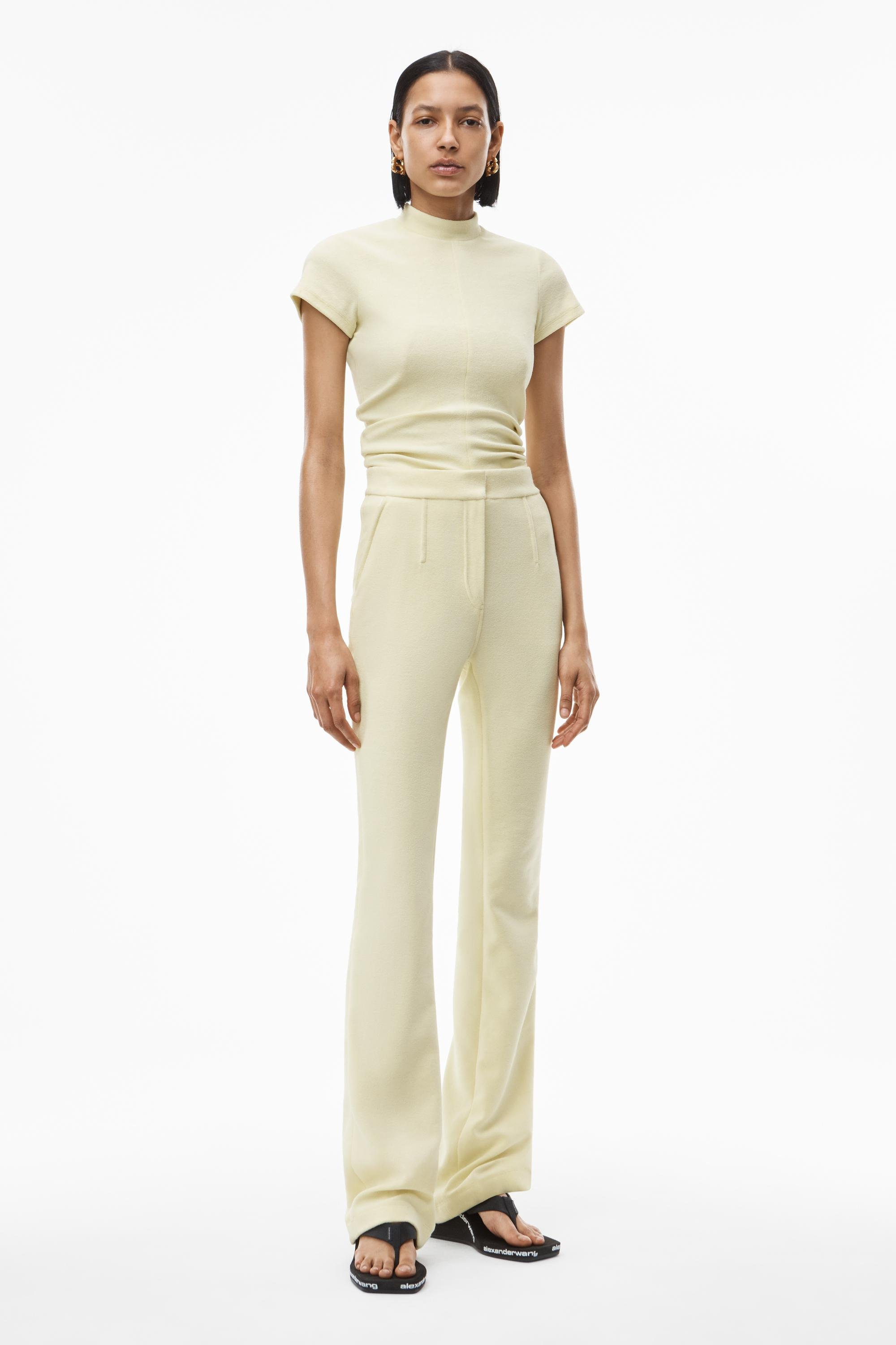 mock neck top in ruched velour tailoring 5