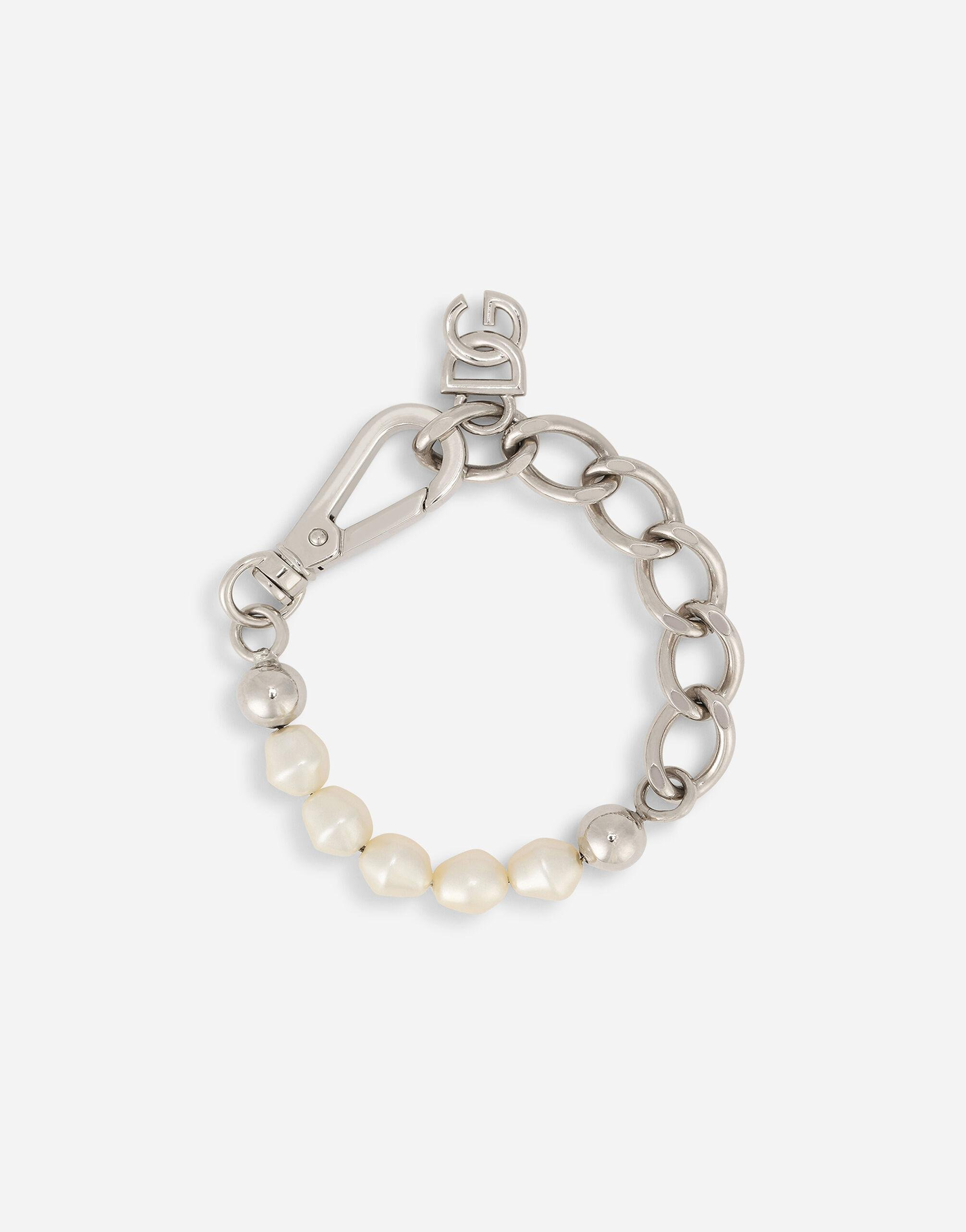 Link bracelet with rhinestones and pearl