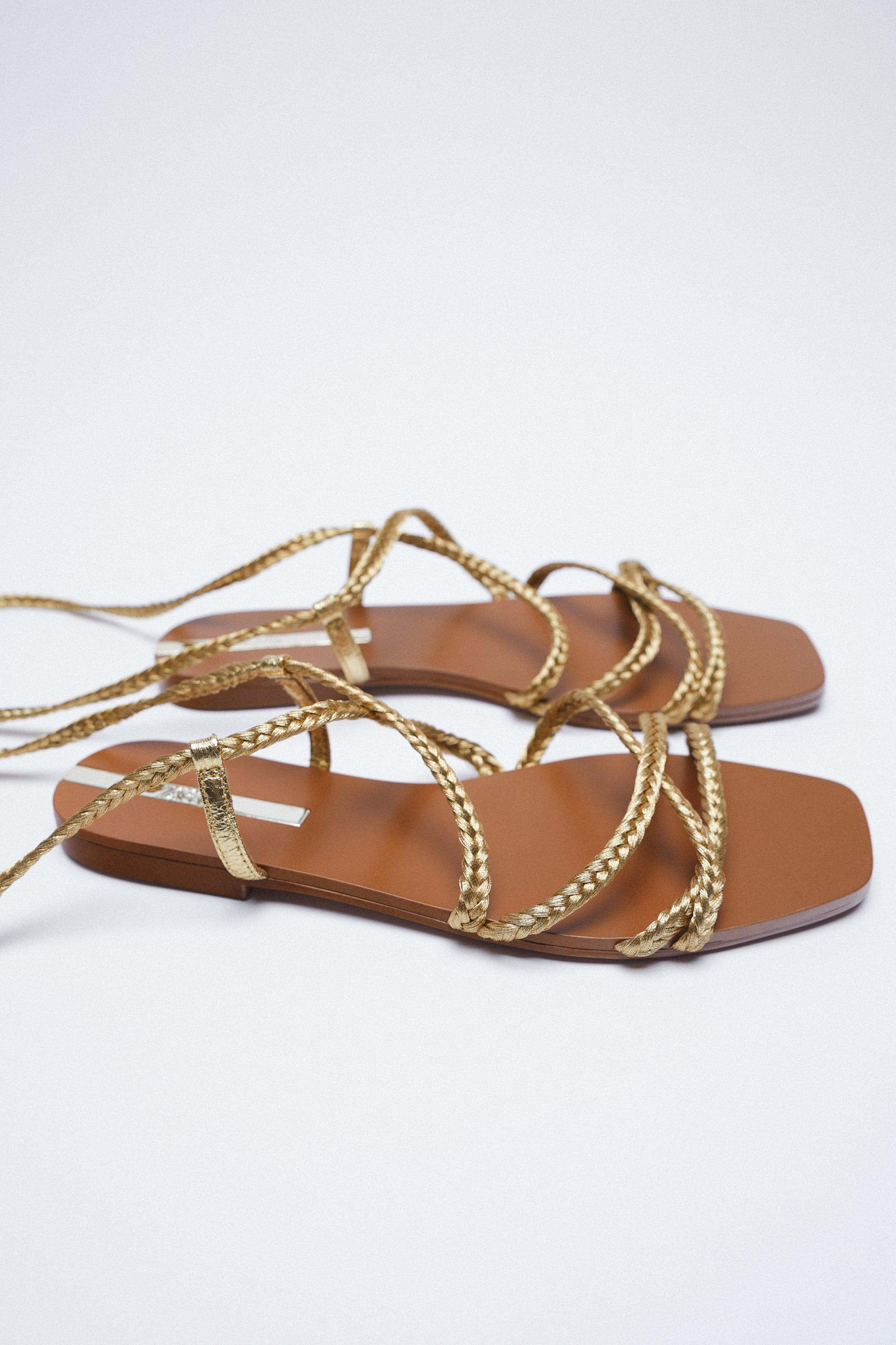LOW HEEL WOVEN METALLIC SANDALS WITH TIED ANKLE 3