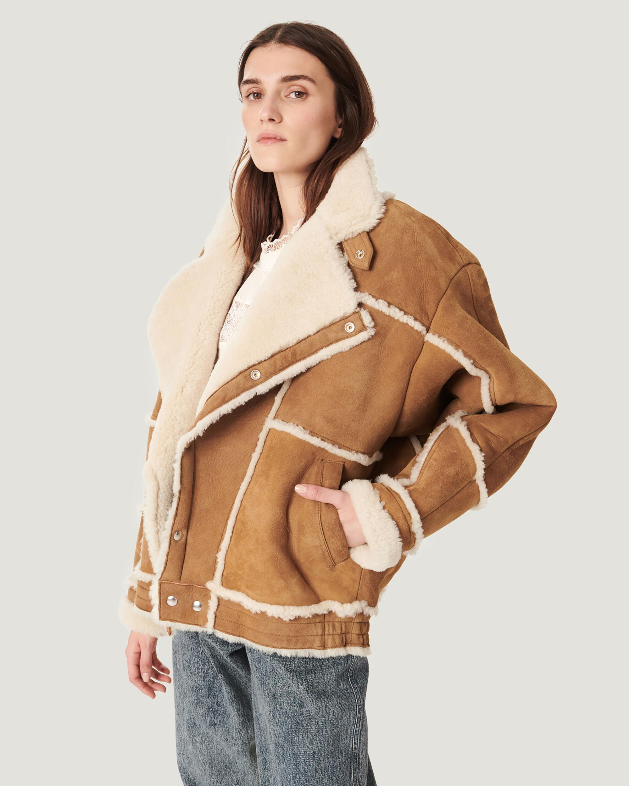 KAMERIA SUEDE AND SHEARLING LINED COAT