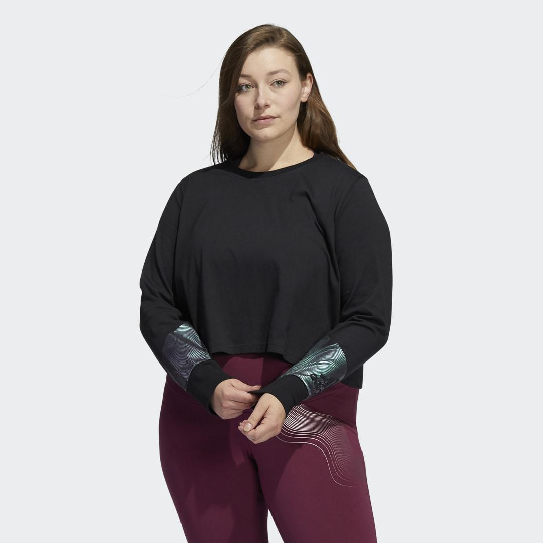 Holiday Graphic Cropped Long Sleeve Tee (Plus Size) Black